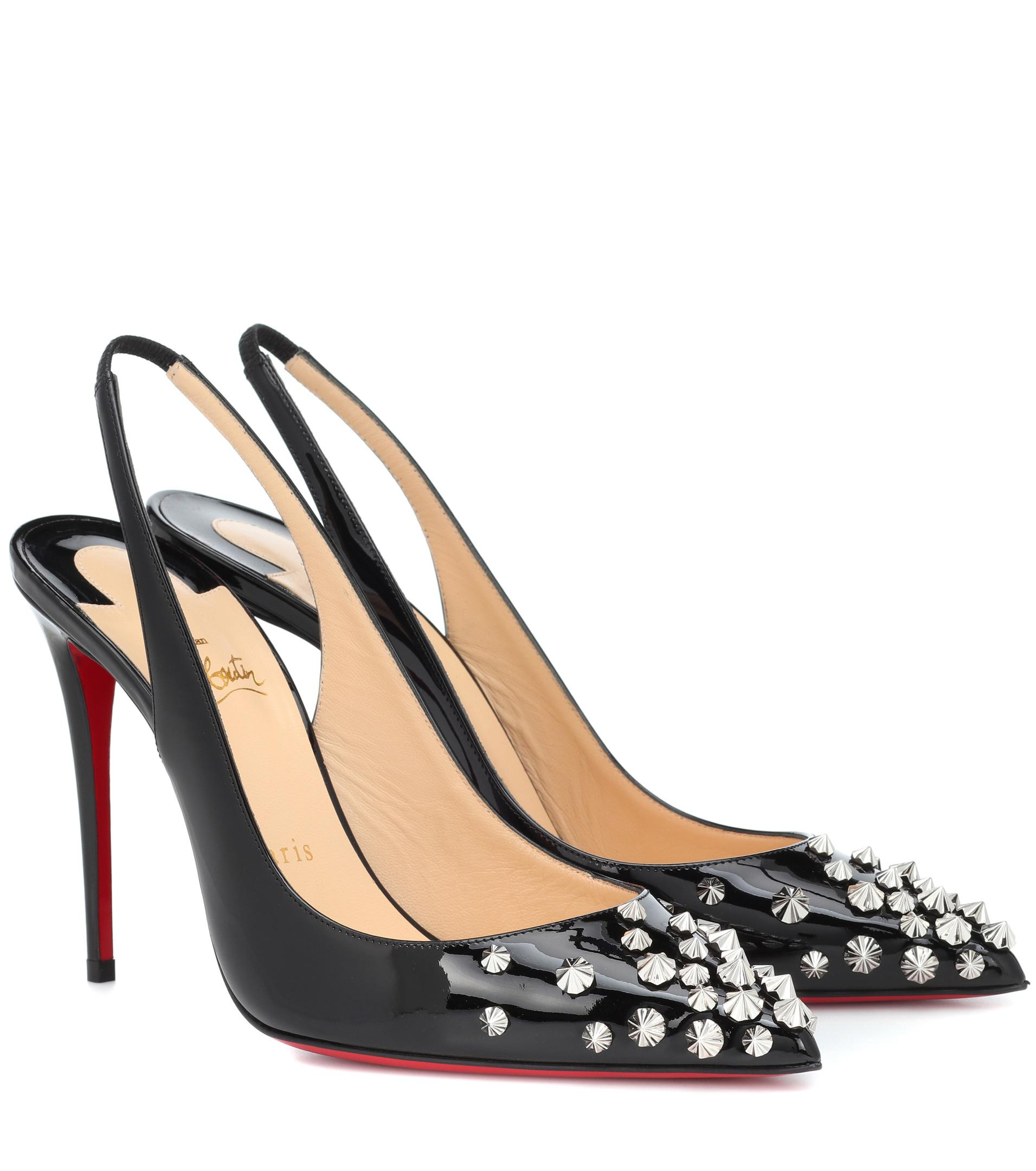 d97c97e0601a Christian Louboutin Drama Sling 100 Patent Leather Pumps in Black - Lyst