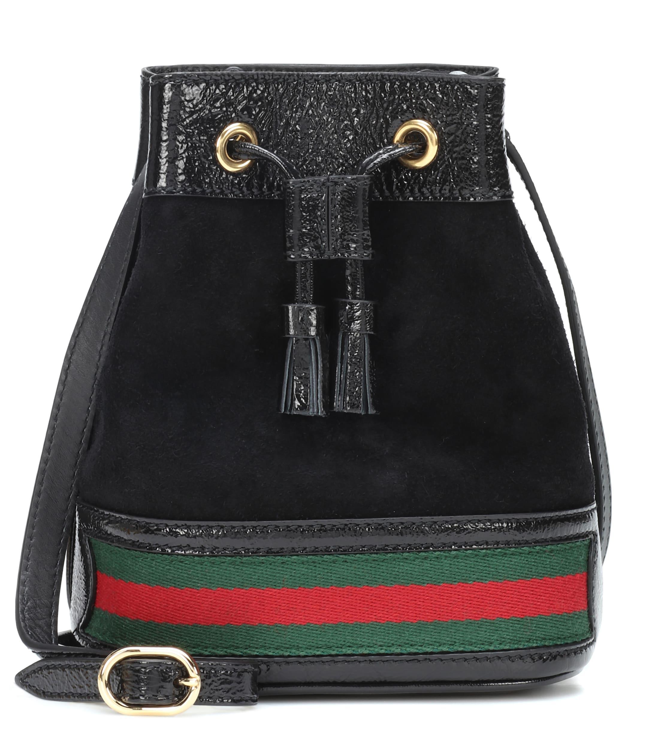 74da223d394 Lyst - Gucci Ophidia Leather Bucket Bag in Black