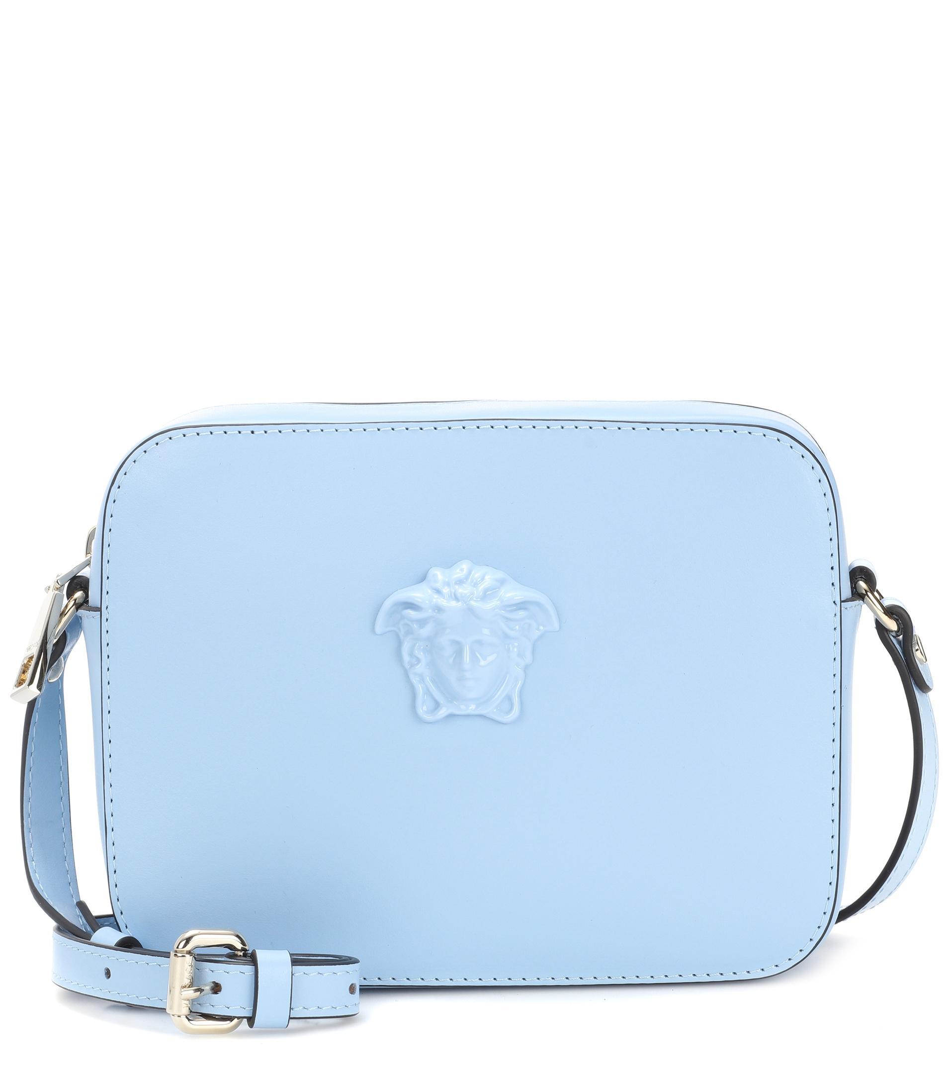 6bce6031ad9d Versace Palazzo Leather Shoulder Bag in Blue - Lyst