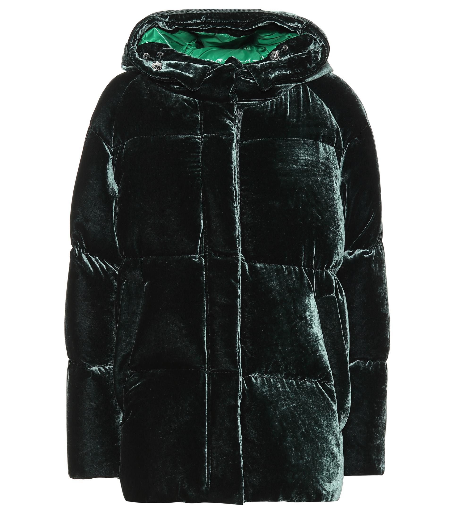Moncler. Women's Green Quilted Velvet Down Jacket