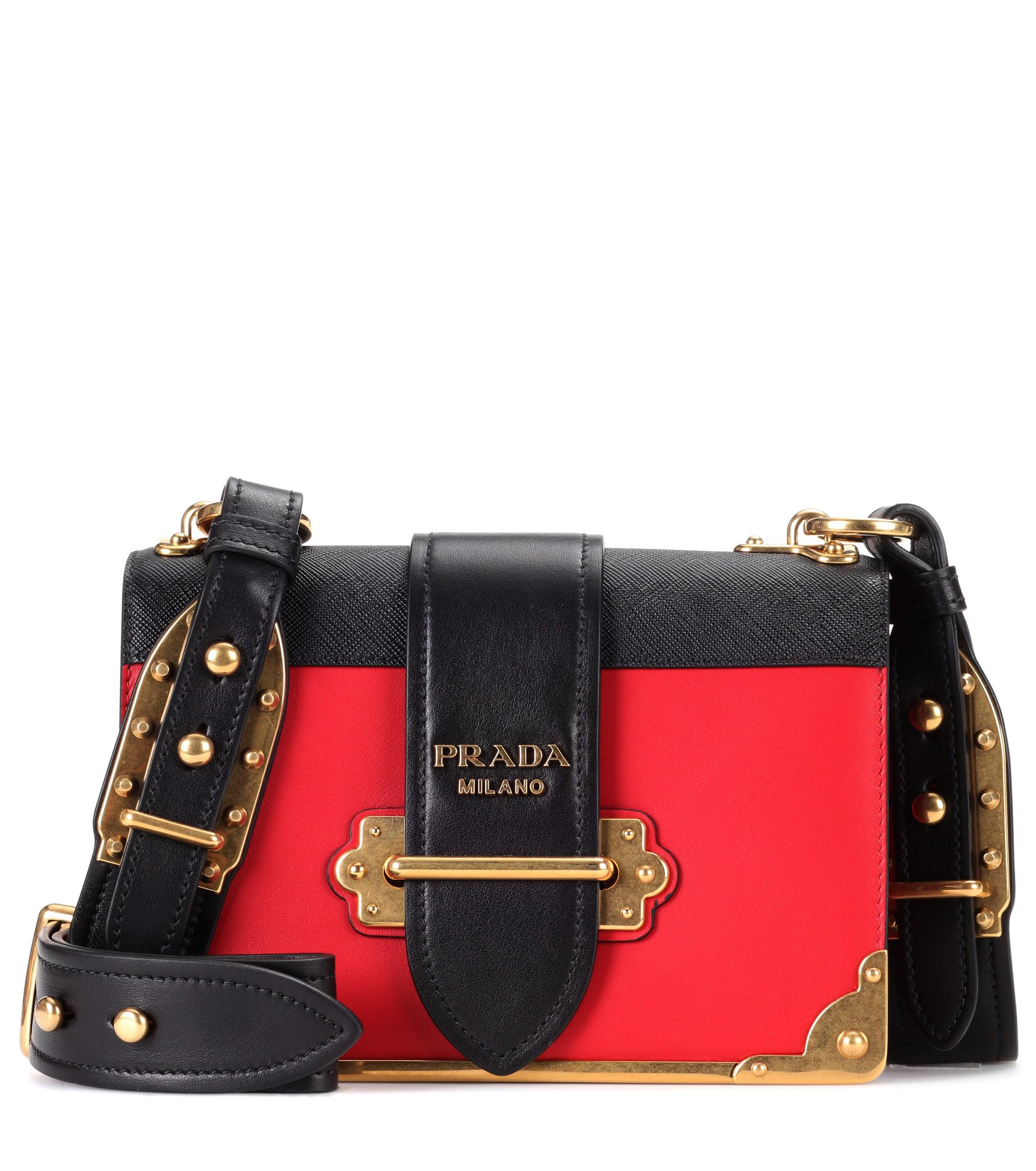 3de287e08fa0 Lyst - Prada Cahier Leather Shoulder Bag in Red - Save 5%