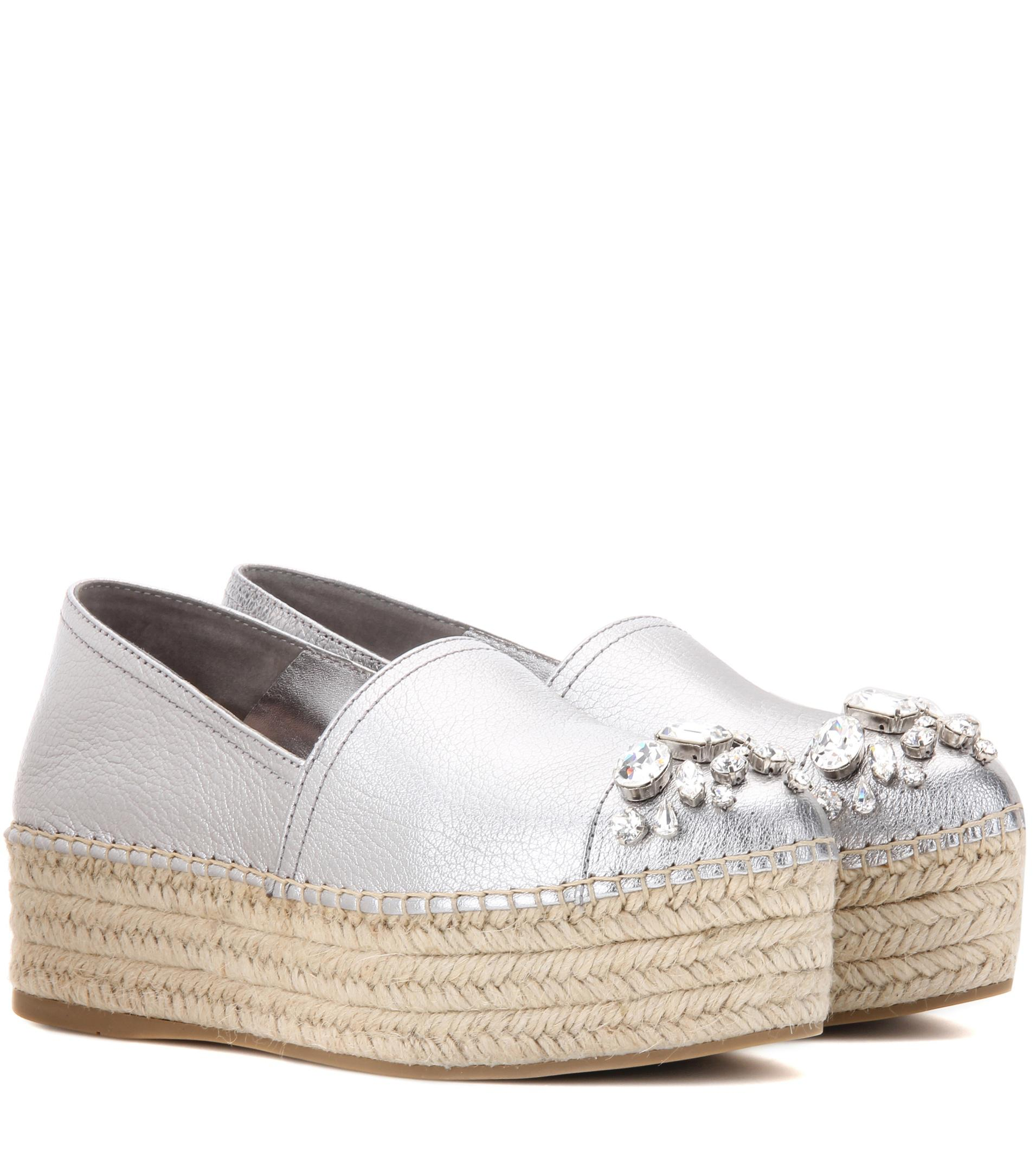 exclusive online for sale cheap price Miu Miu Embellished Platform Espadrilles great deals cheap price RcDgNjLDHA