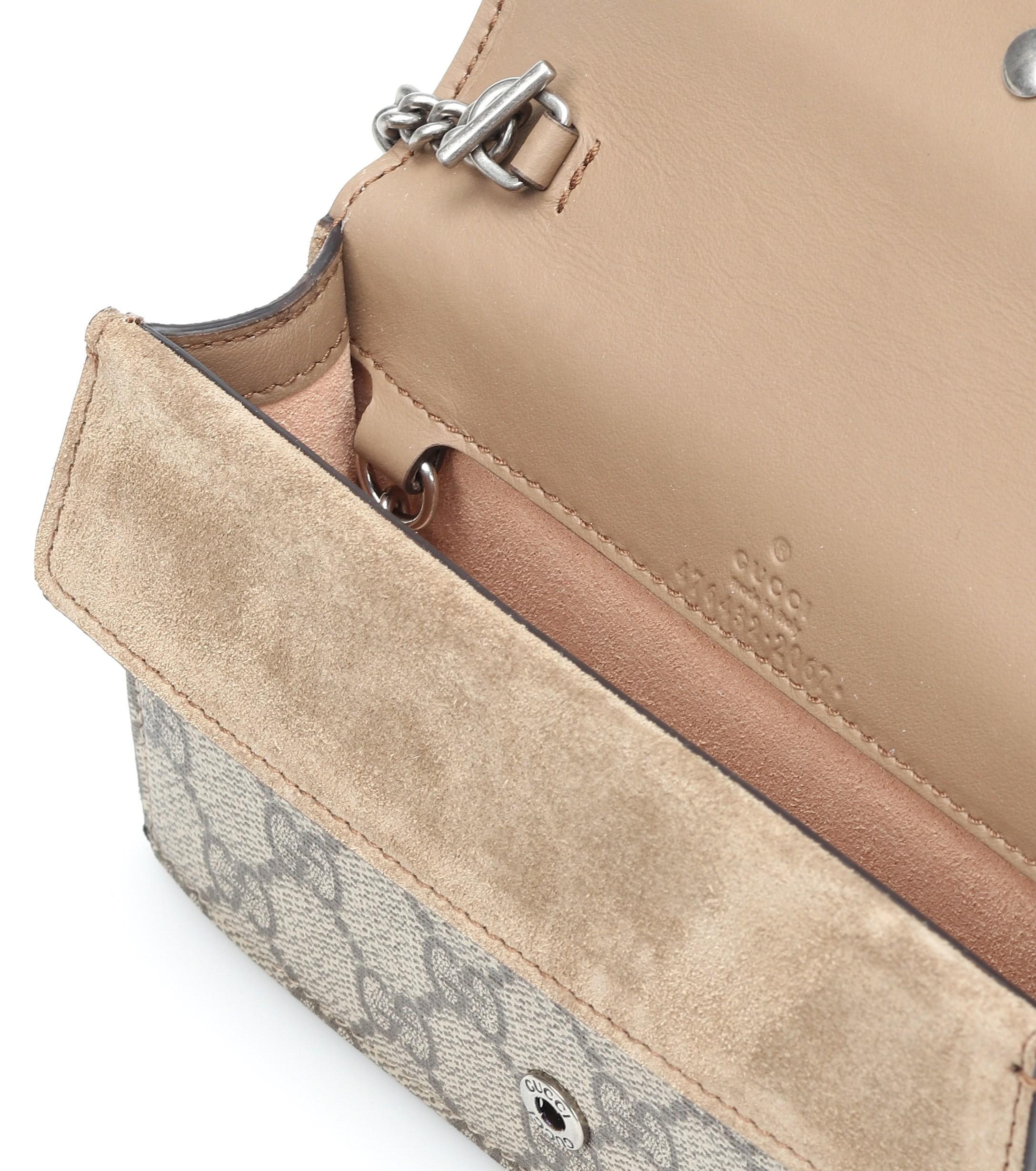 6f1baf82d Gucci Dionysus GG Supreme Super Mini Shoulder Bag in Natural - Lyst