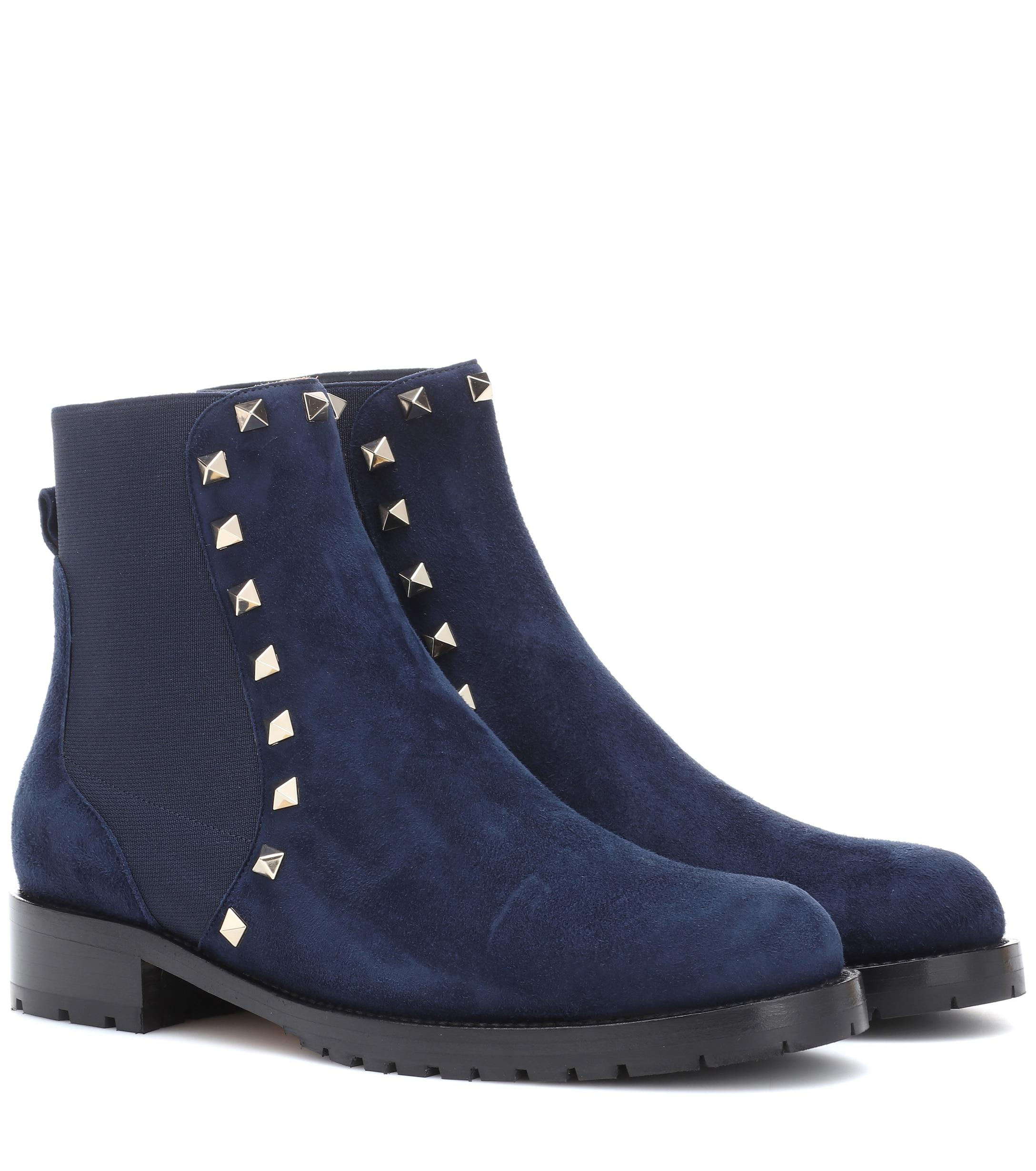 95a8f254ab68d Lyst - Valentino Rockstud Suede Ankle Boots in Blue