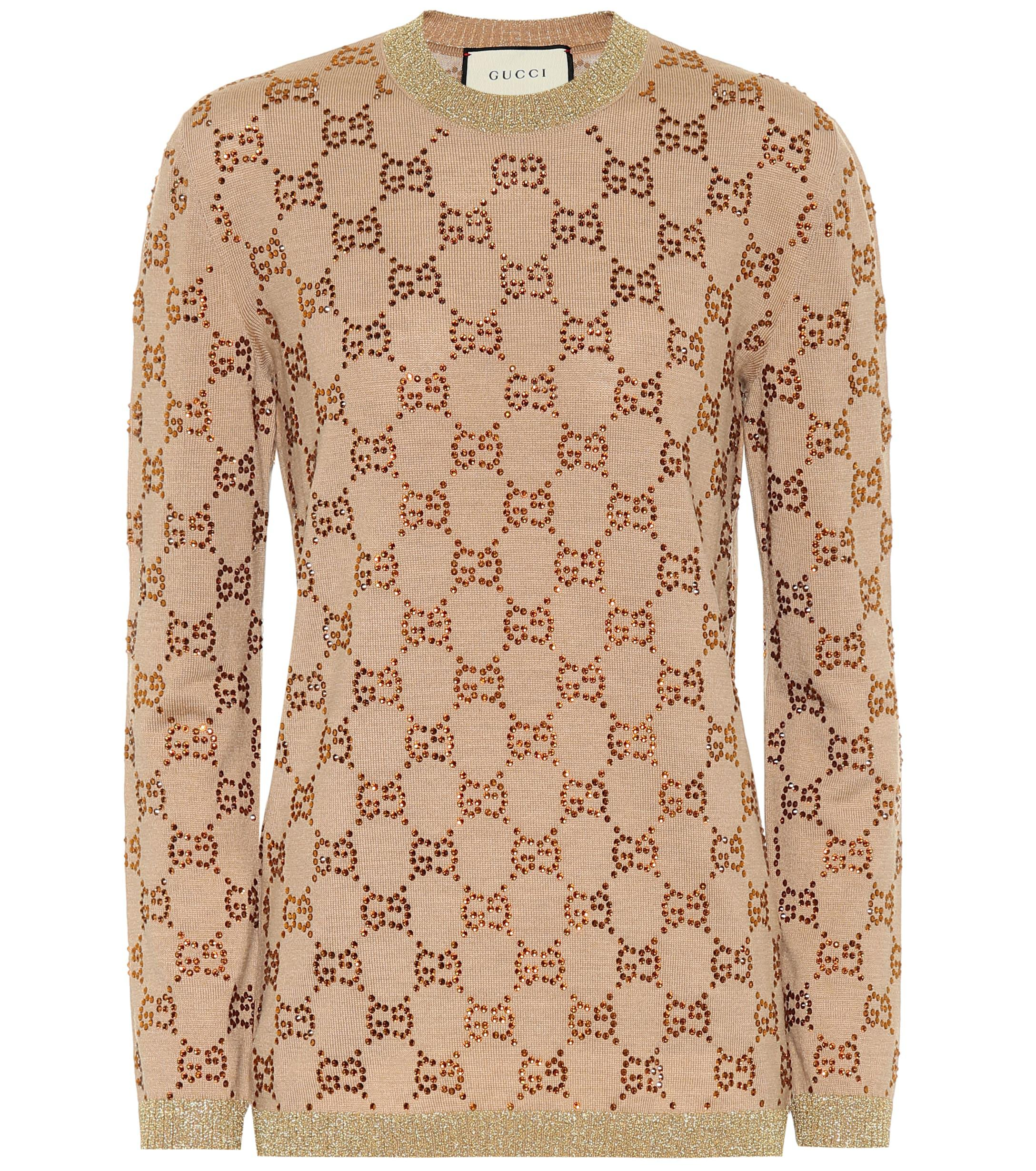 dc506150 Gucci GG Embellished Wool Sweater in Natural - Lyst