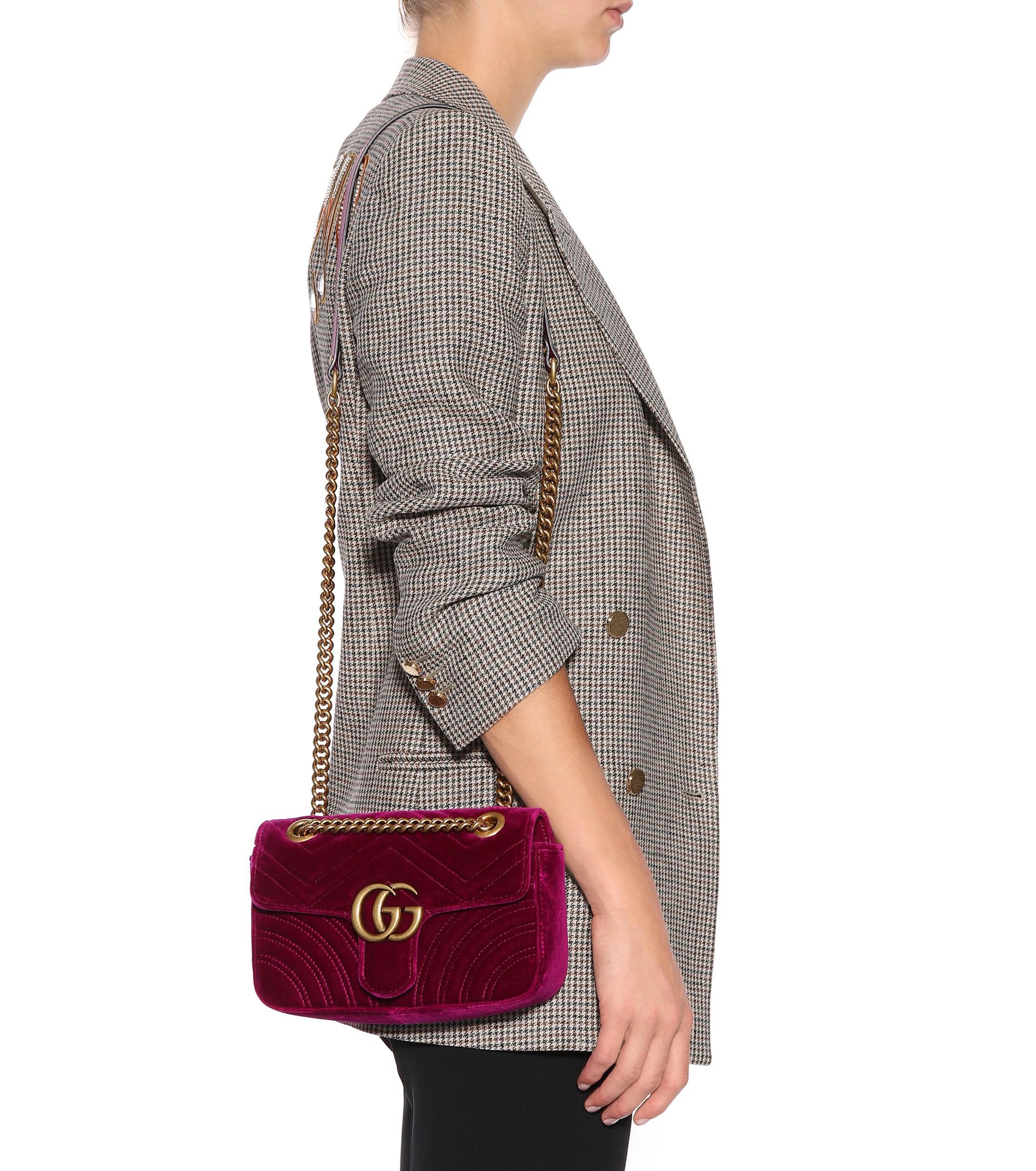 d7ef284e57248 Gucci - Purple GG Marmont Mini Velvet Shoulder Bag - Lyst. View fullscreen