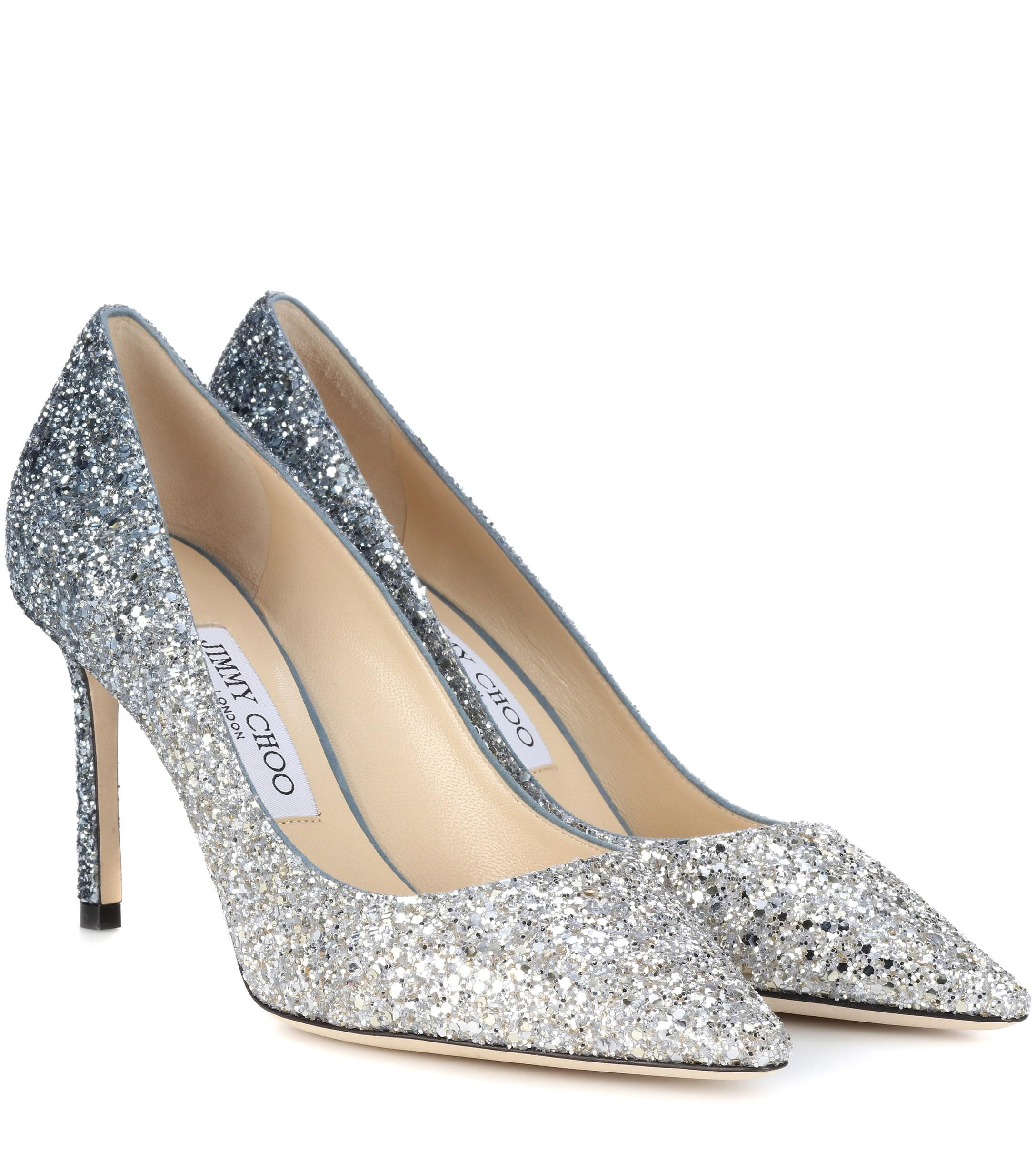 5c69ea306dd Jimmy Choo - Metallic Romy 85 Glitter Pumps - Lyst. View fullscreen