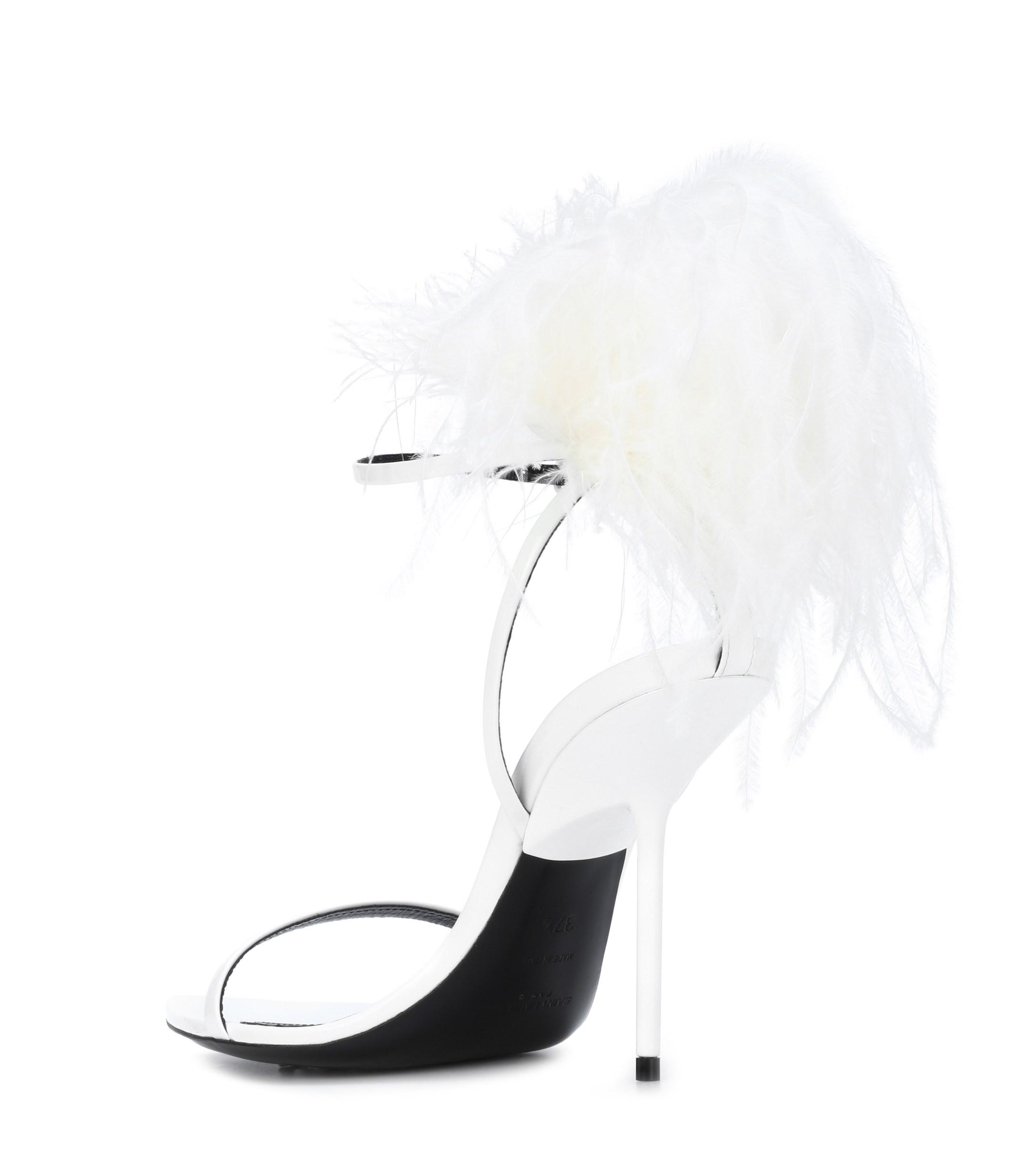 cheaper 1f518 bb6a0 saint-laurent-white-Inez-Feather-trimmed-Leather-Sandals.jpeg