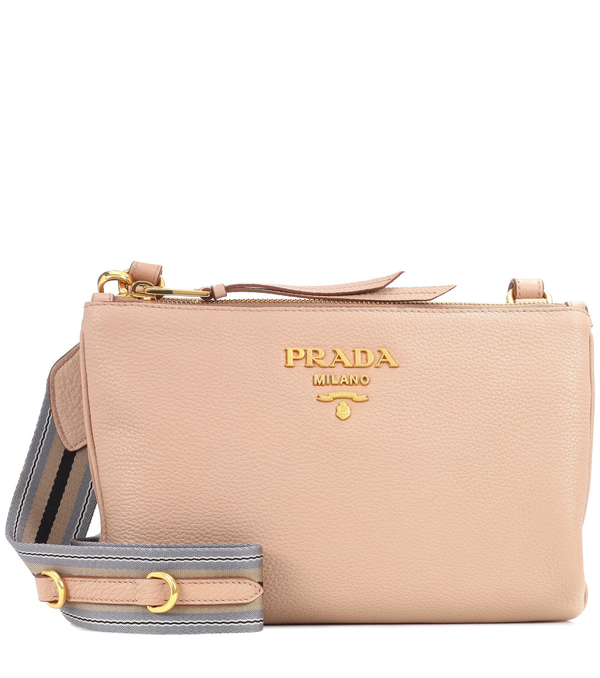 10726ba957d1 Prada Daino Small Leather Crossbody Bag in Natural - Lyst