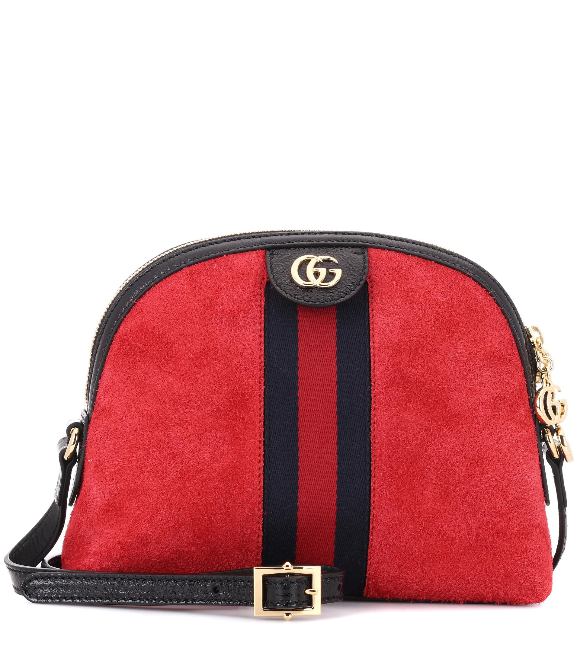 7e50fdc642cf66 Gucci Ophidia Suede Crossbody Bag in Red - Lyst