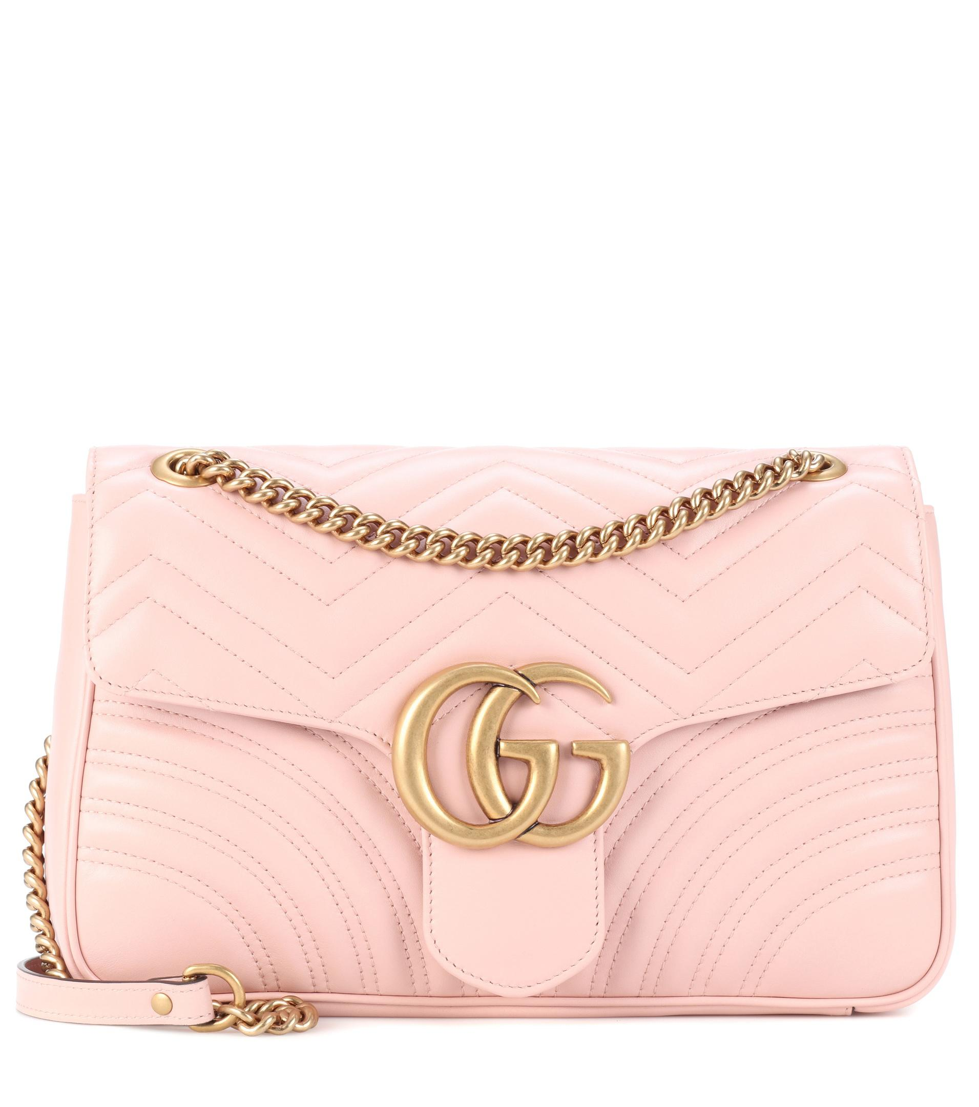 de2853f13f8 Gucci Gg Marmont Medium Matelassé Leather Shoulder Bag in Pink - Lyst
