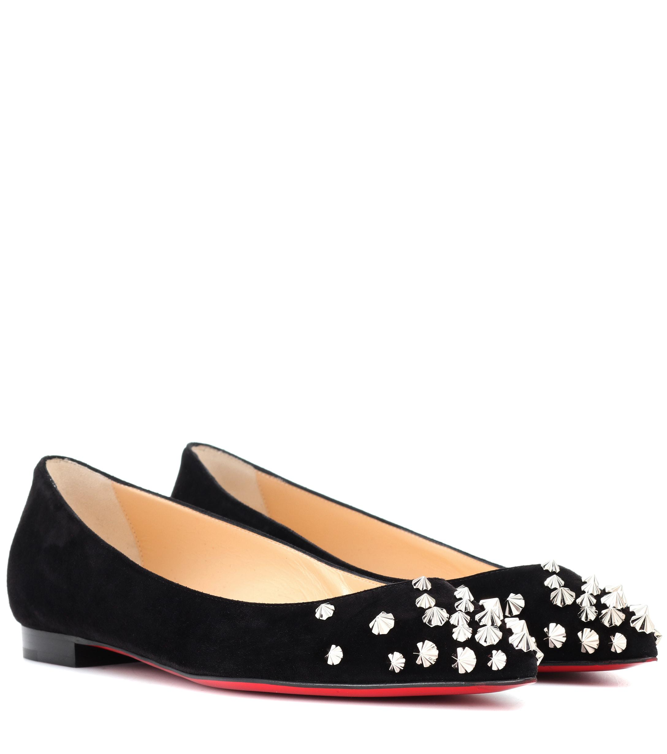 252e2b3310ff Lyst - Christian Louboutin Drama Studded Suede Ballet Flats in Black