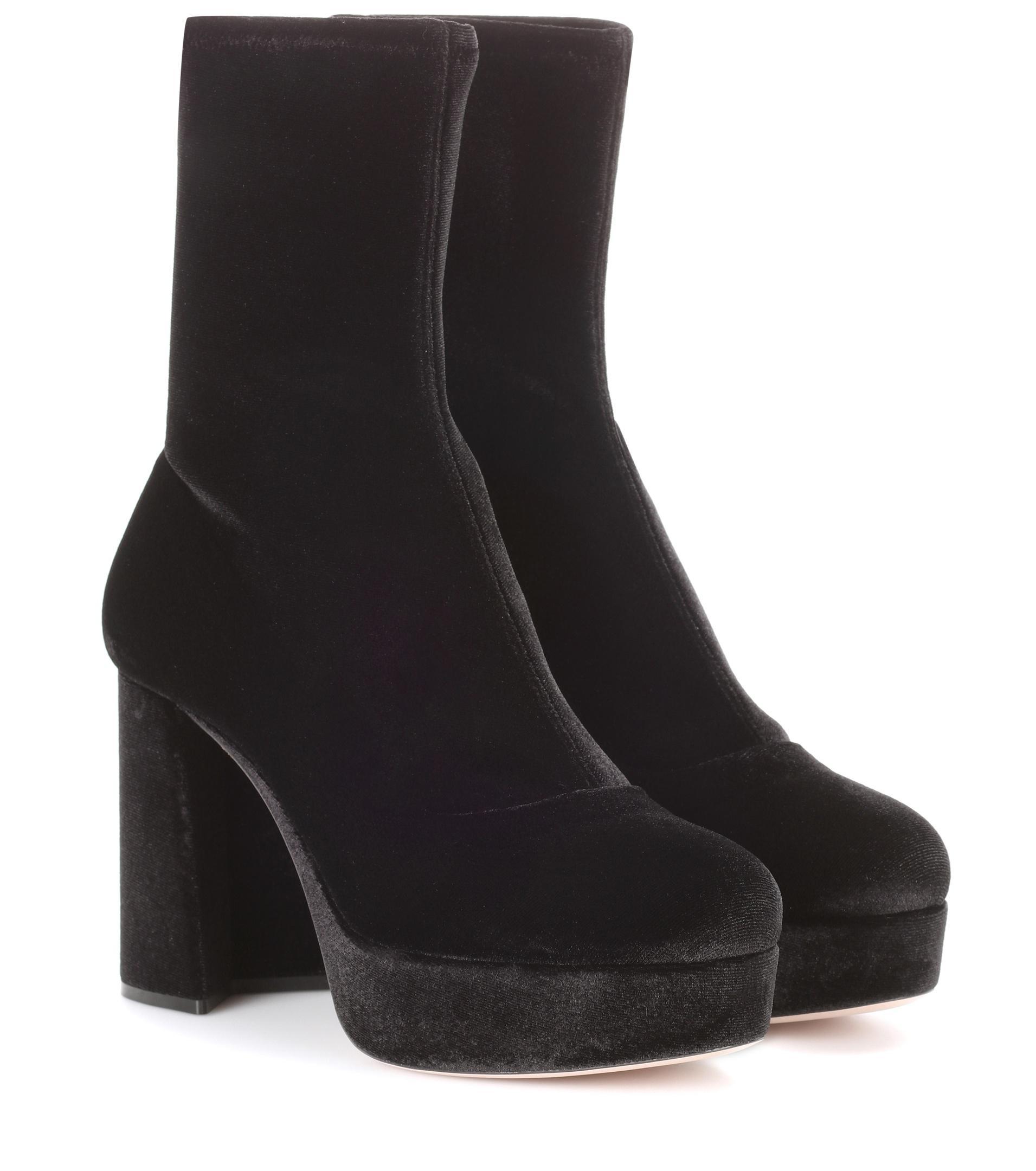 Velvet plateau ankle boots Miu Miu 1GTVbumjK