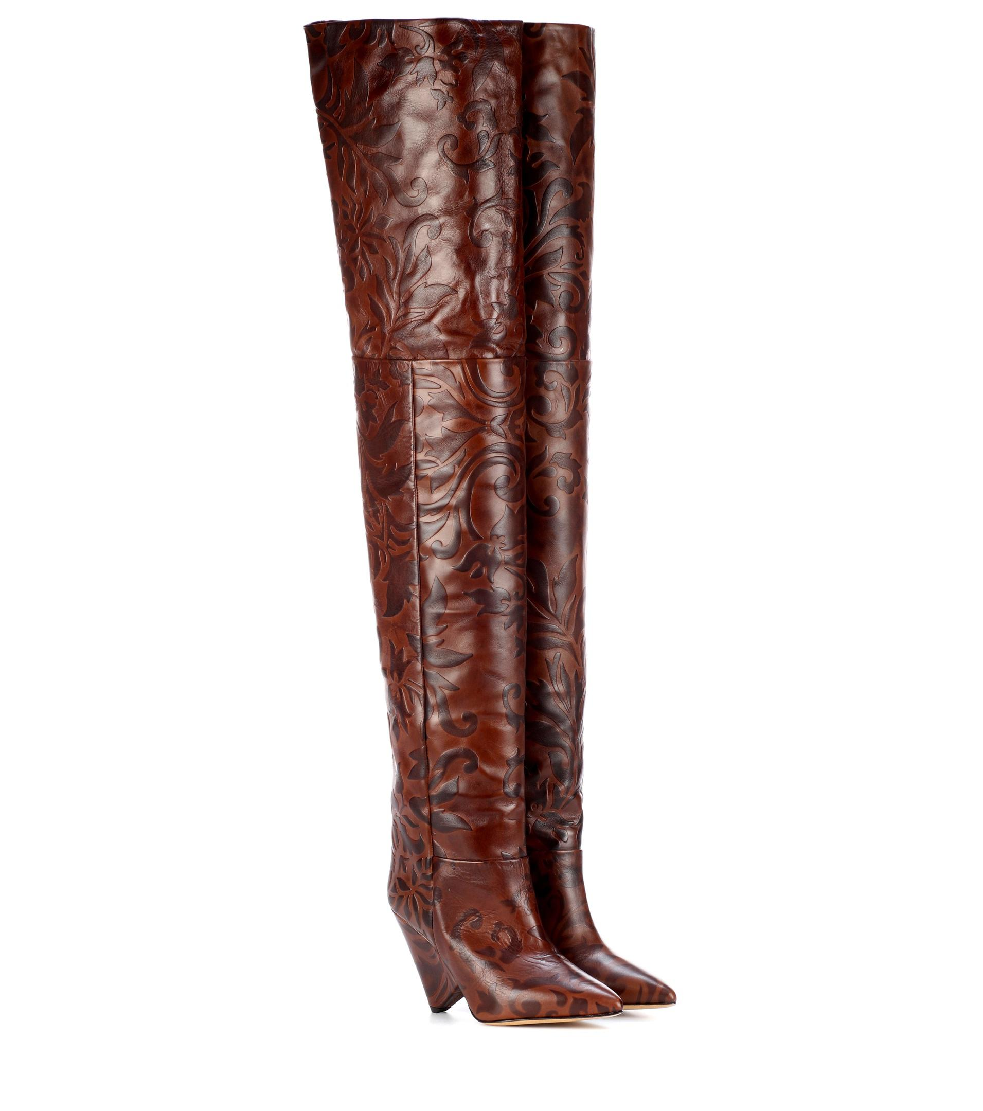588c297fde3 Isabel Marant Lostynn Embossed Leather Boots in Brown - Lyst