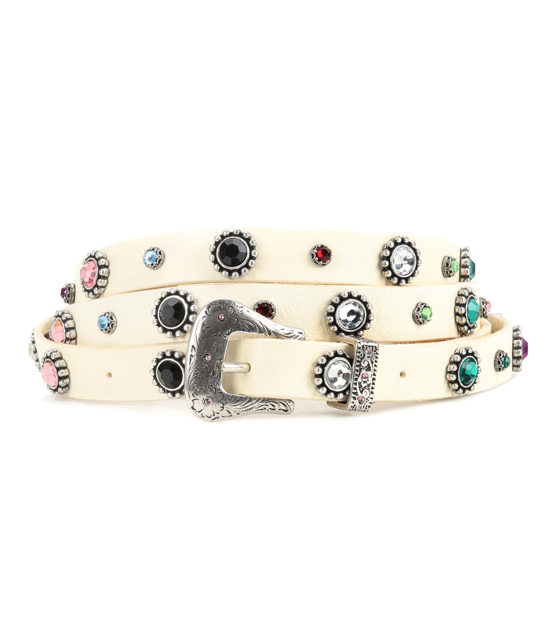 Lyst - Cinturón de piel con cristales Dodo Bar Or de color Blanco a06588033fba