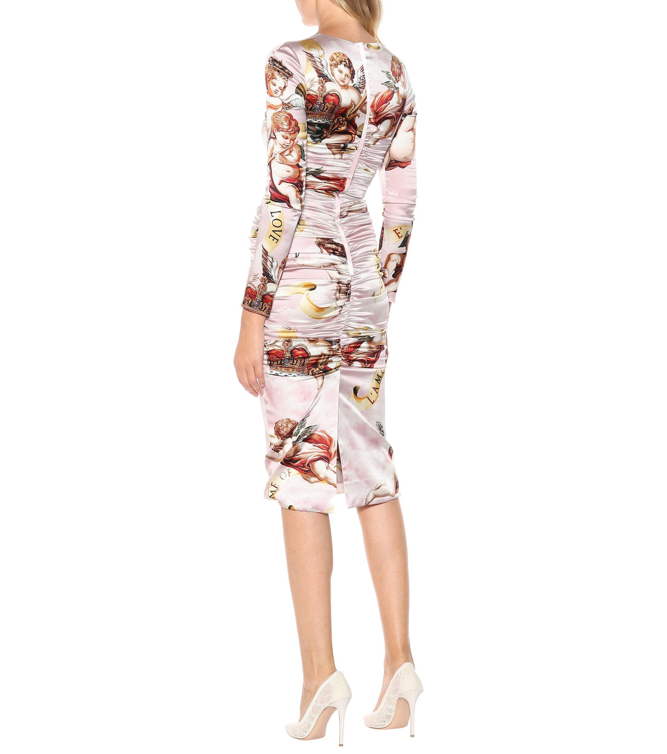 8ee5699434fc Dolce & Gabbana Cherub Silk-satin Dress in Pink - Lyst