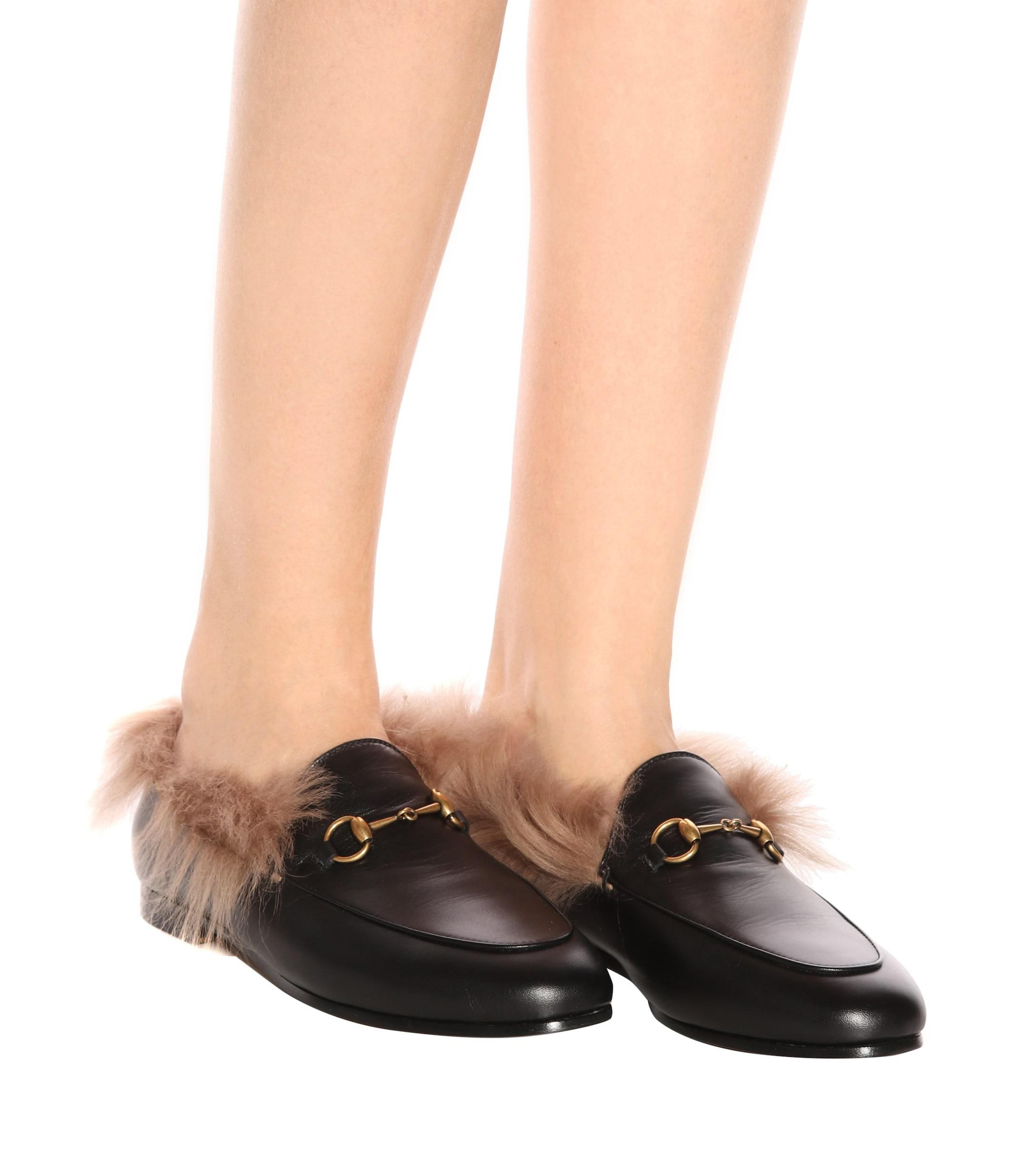 9291e38b8 Gucci Jordaan Fur-lined Leather Loafers - Lyst