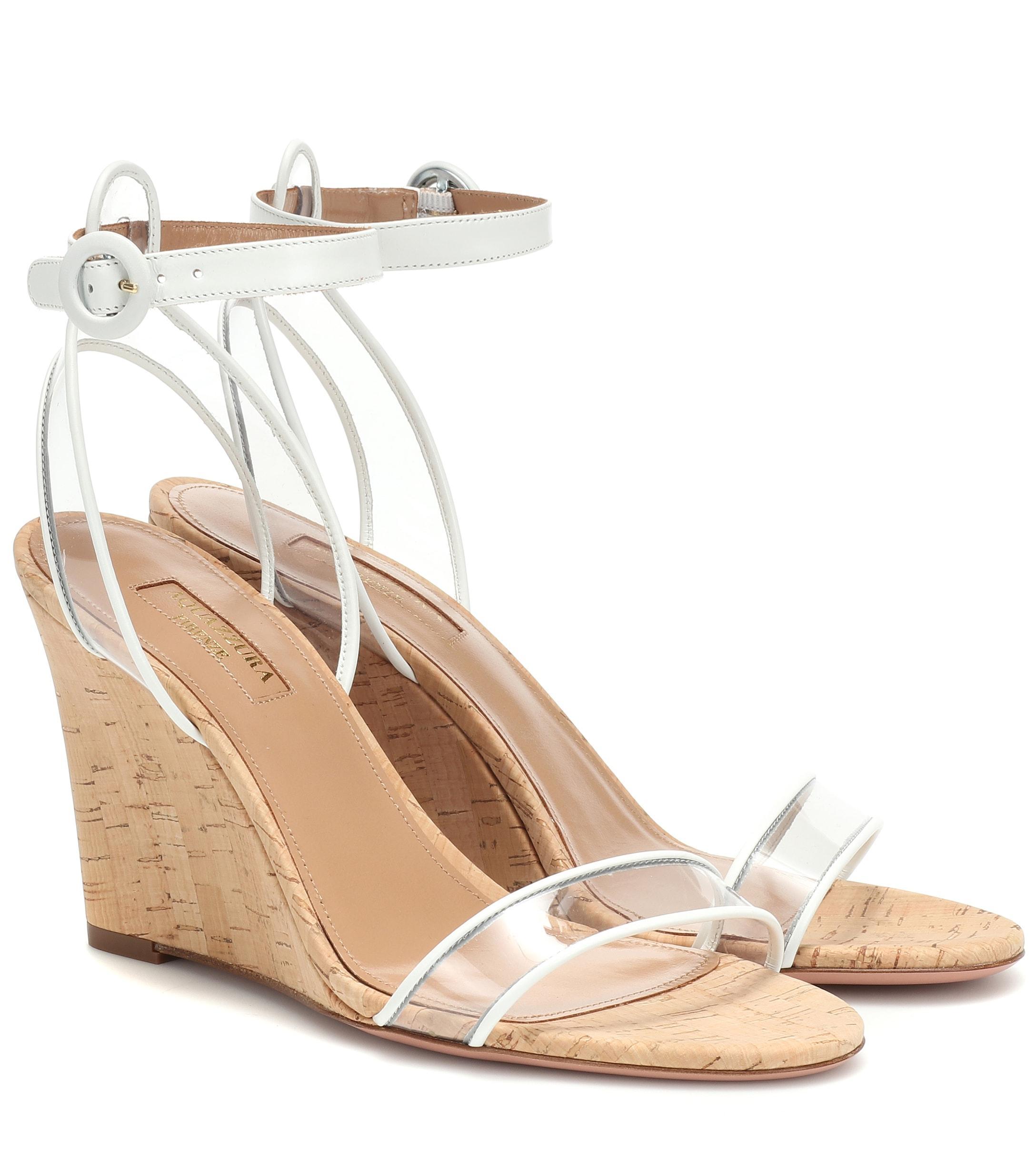 d1ddc245ccfe Lyst - Aquazzura Minimalist 85 Wedge Sandals in White