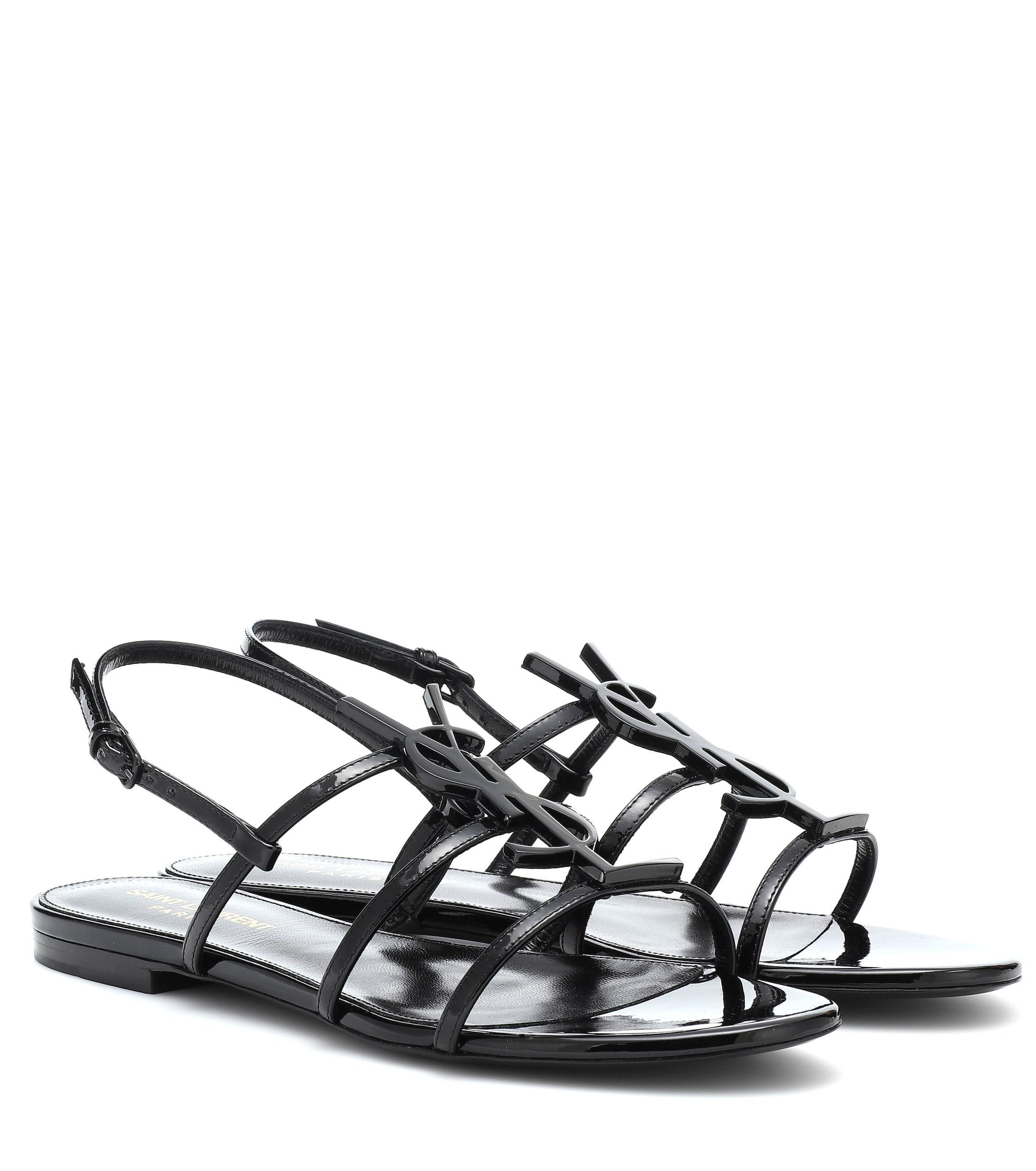 a0370a27a747c Lyst - Saint Laurent Cassandra Patent Leather Sandals in Black - Save 7%
