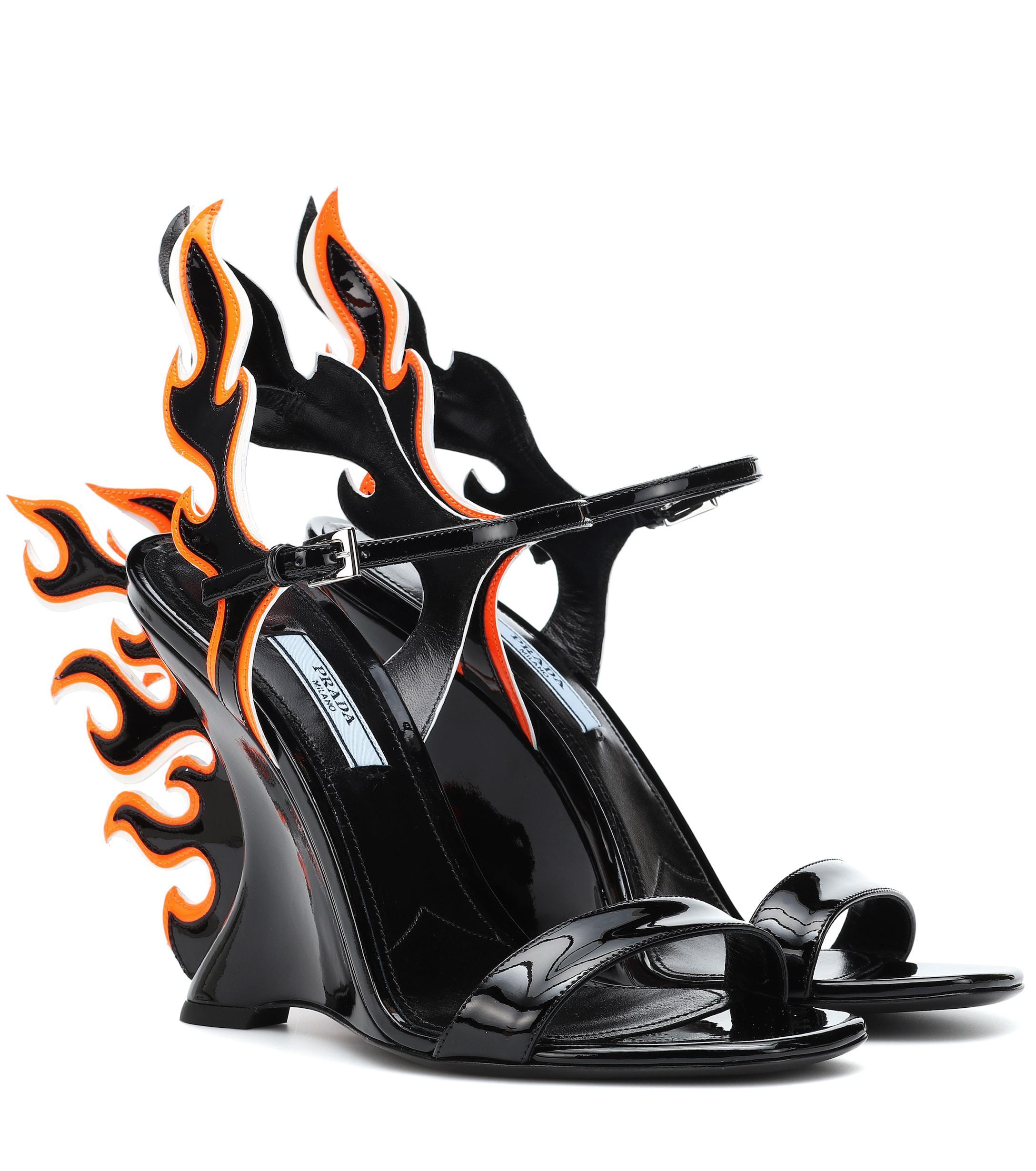 0ce478b5c51 Lyst - Prada 100 Flame Leather Wedge Sandals in Black