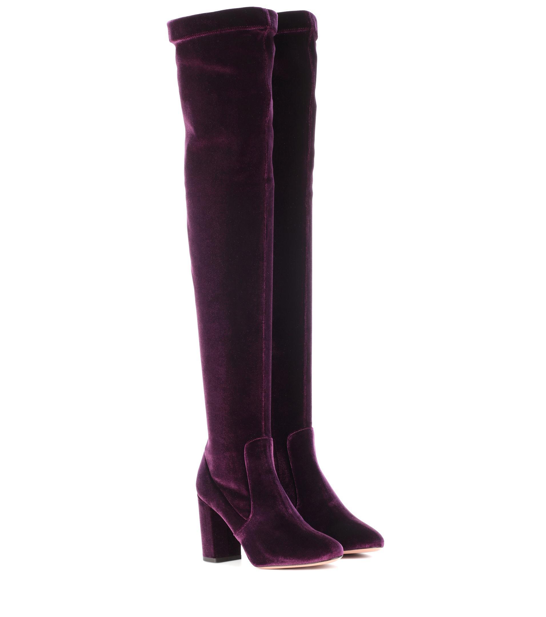 Aquazzura Violet-moi Donc 85 Cuissardes En Velours - Rose Et Violet Mv8U42