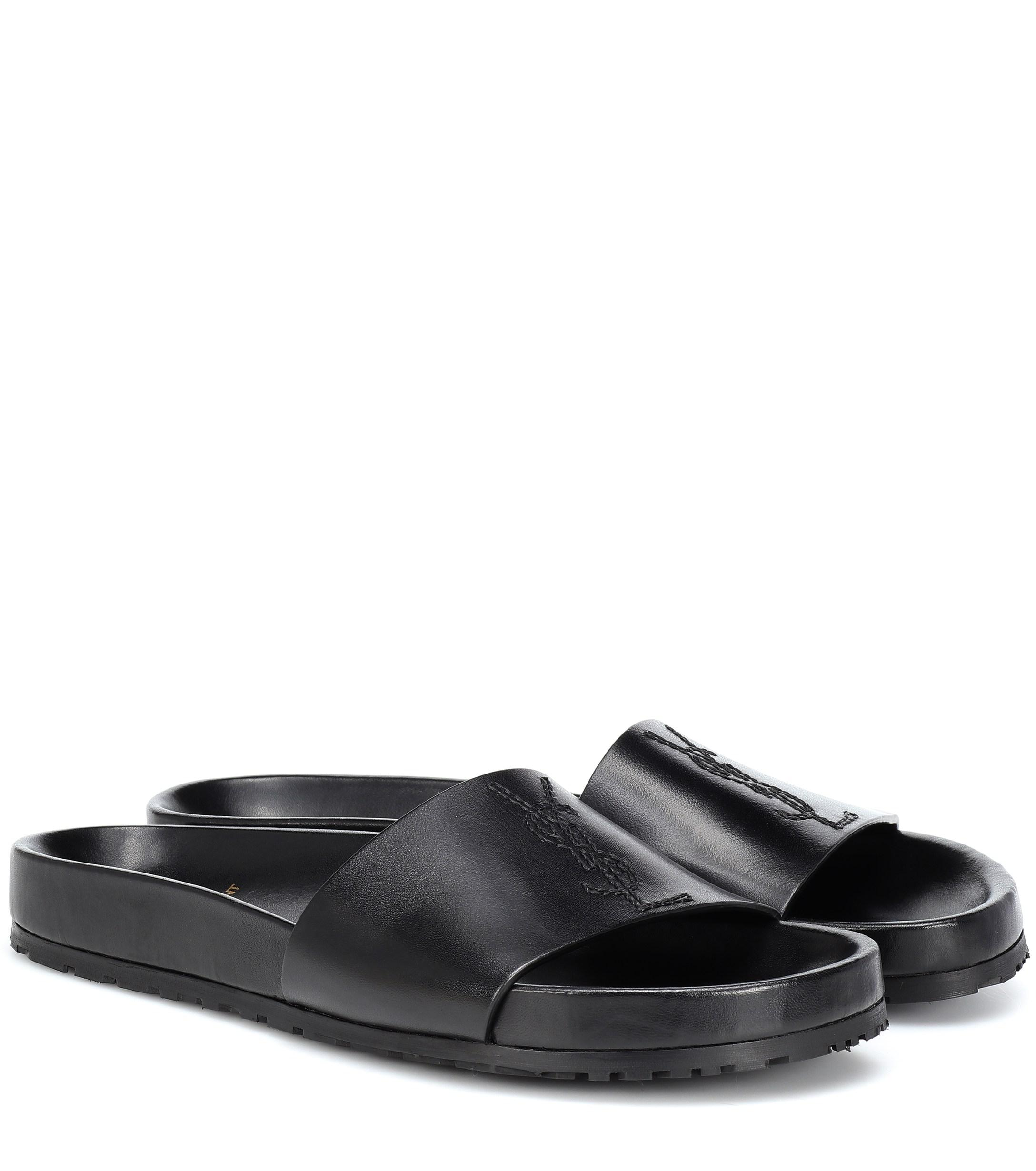 78a3db2db277 Lyst - Saint Laurent Jimmy Leather Slides in Black