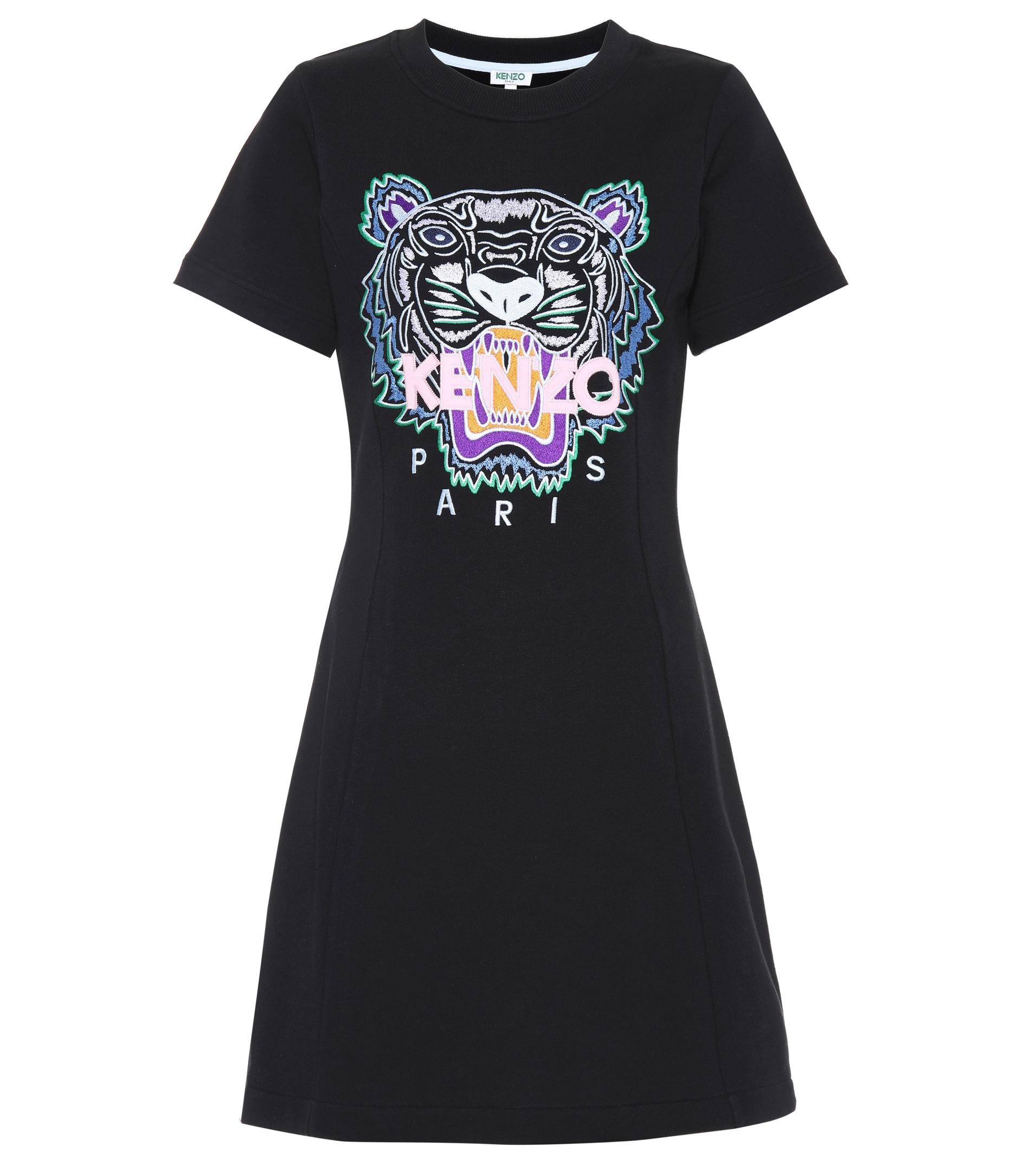 9de1c1aaf08a Lyst - Robe t-shirt en coton brodé KENZO en coloris Noir