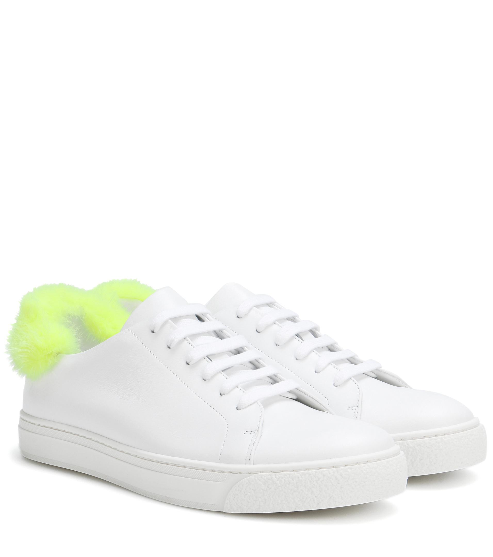 Lyst - Anya Hindmarch Fur-trimmed Leather Sneakers in White - Save 30% 6d68ec659f0