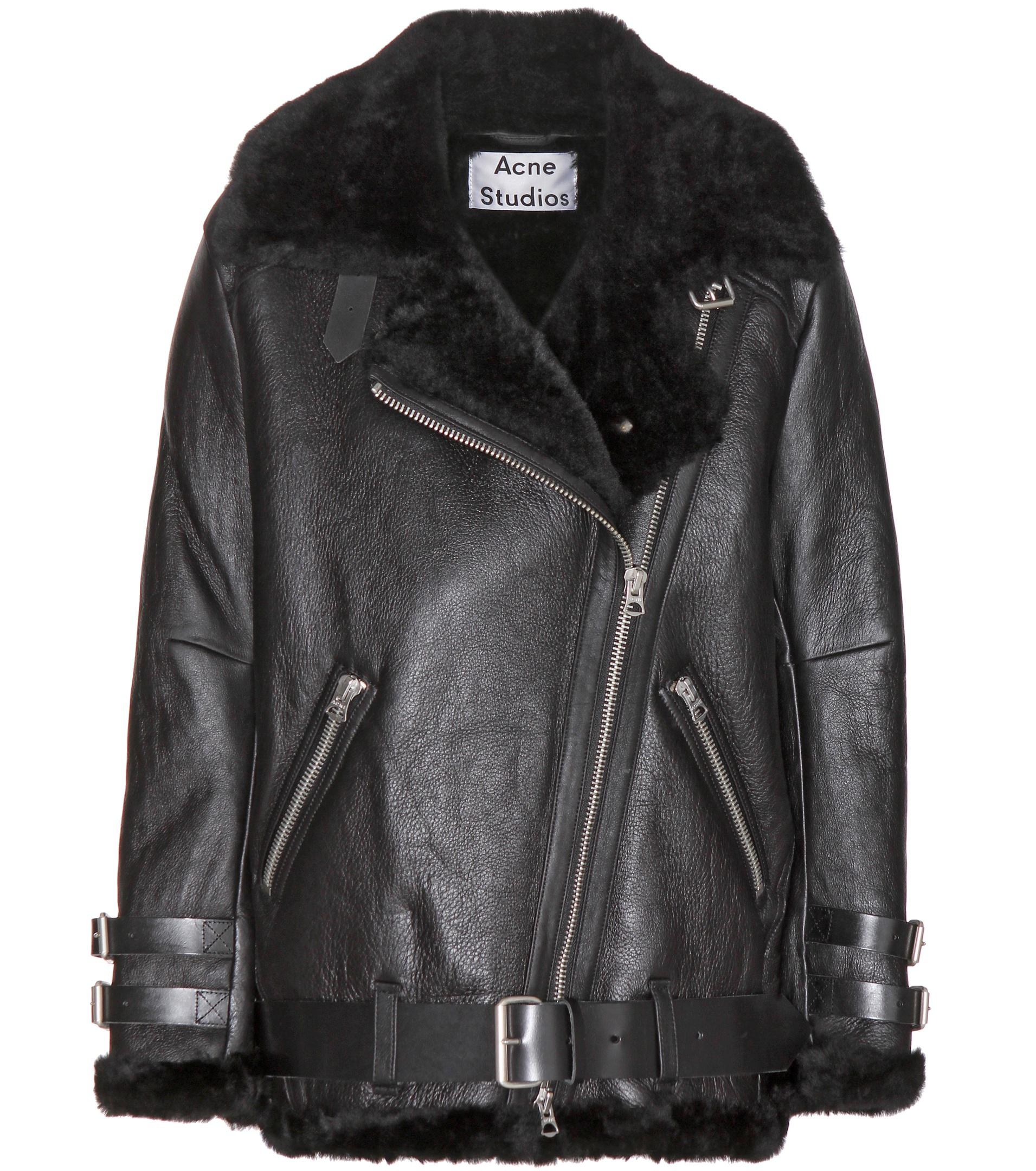 0977eb8326a83 Acne Studios Velocite Shearling-lined Leather Jacket in Black - Lyst