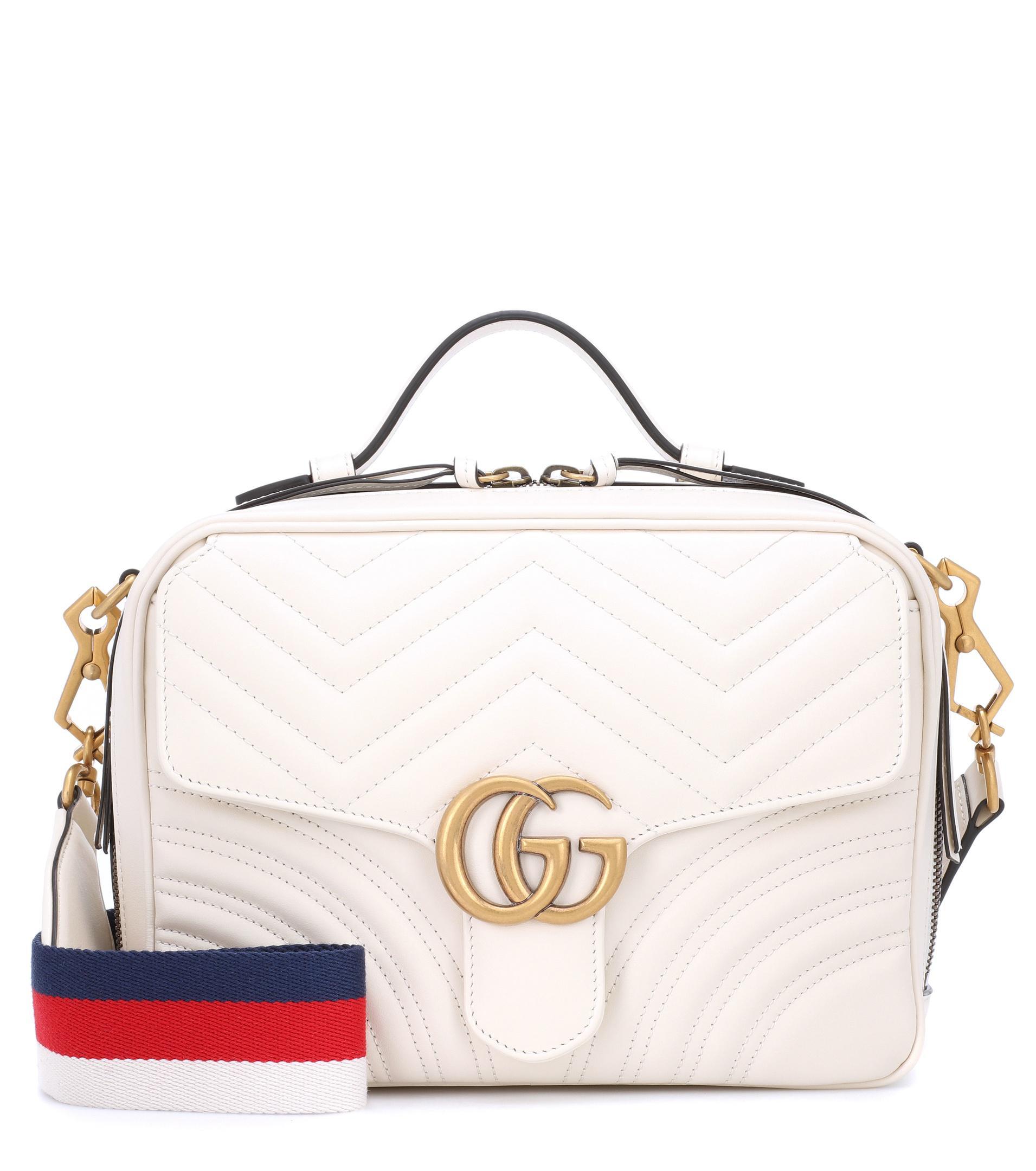 Lyst - Sac à bandoulière en cuir GG Marmont Small Gucci en coloris Blanc 48c7676fdcb
