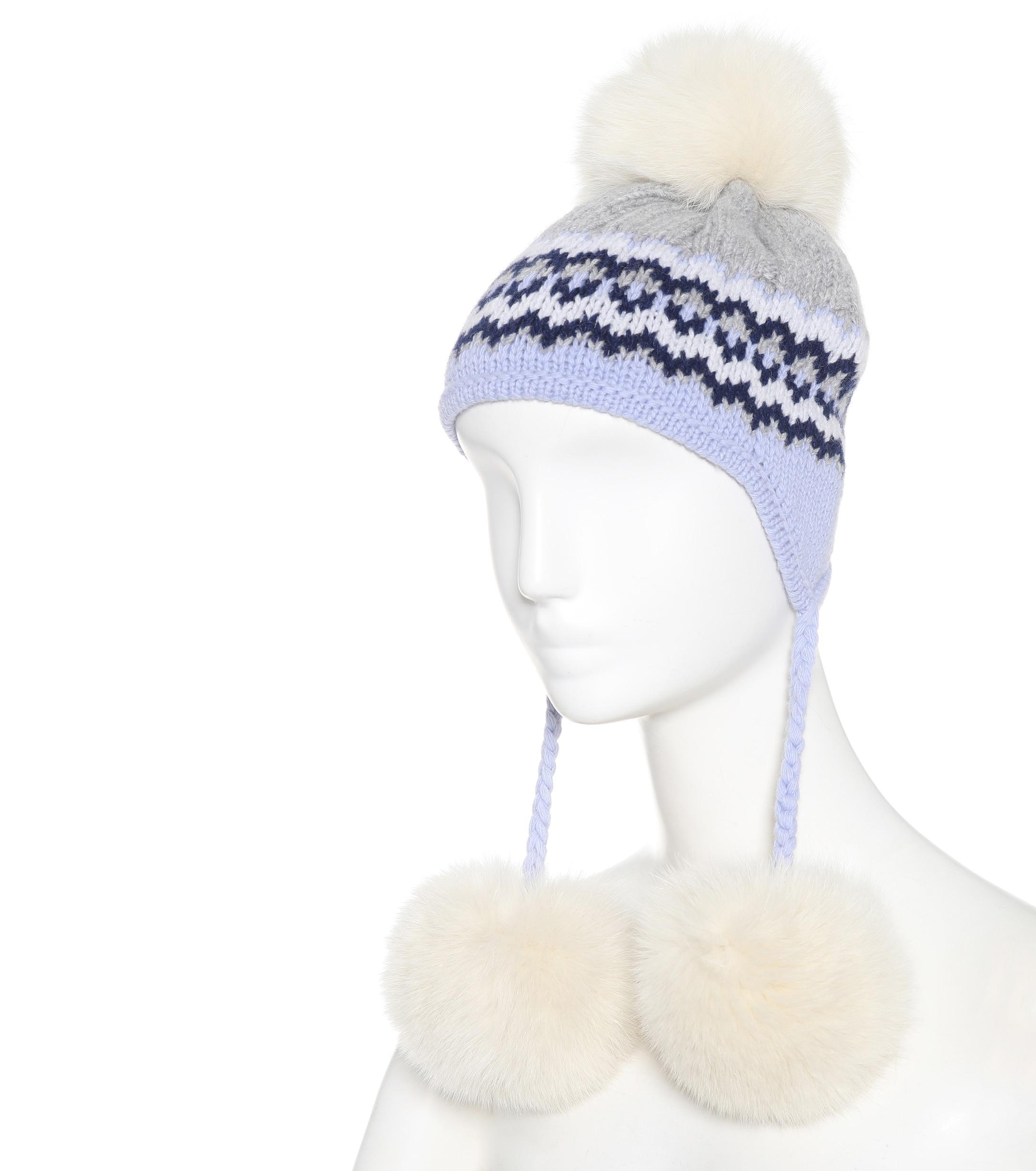 Lyst - Miu Miu Fur-trimmed Knit Hat in Blue aba21e9293d