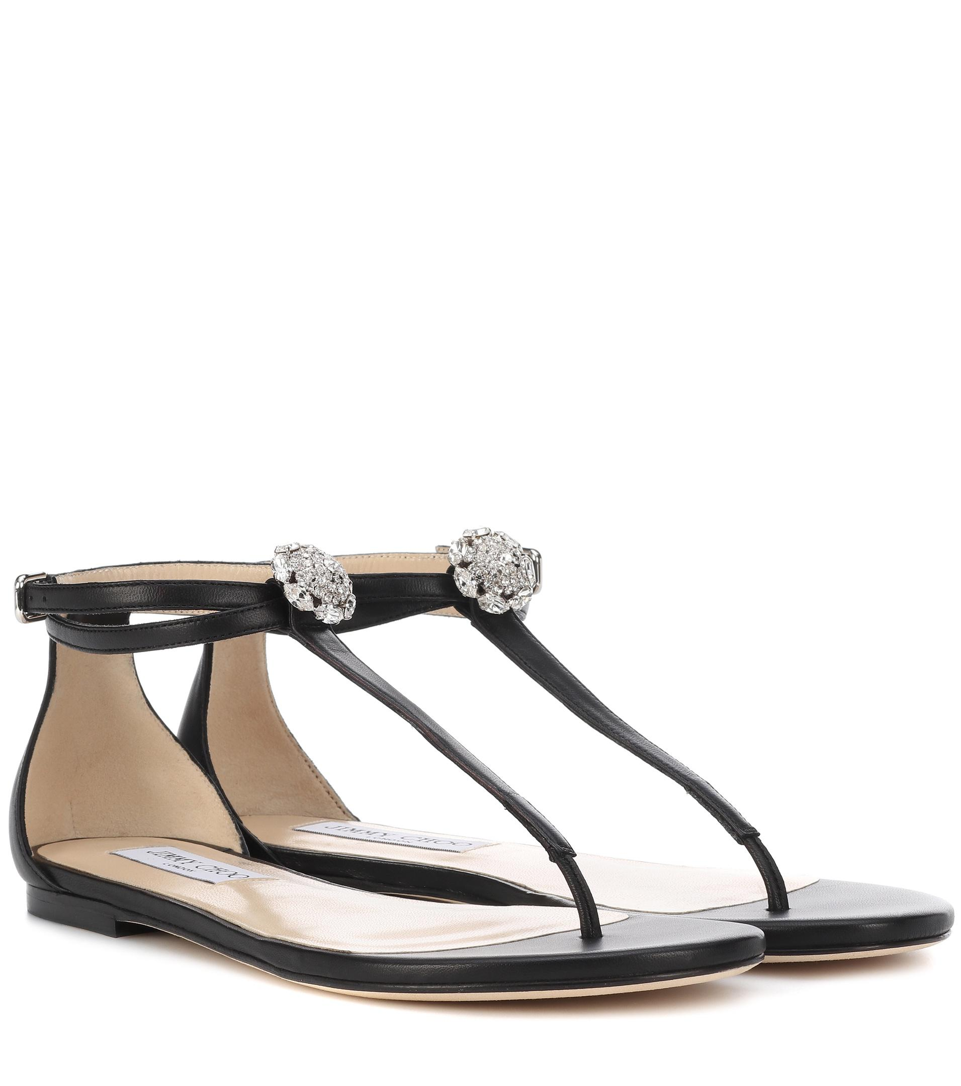 f65f7e29e746 Lyst - Jimmy Choo Afia Flat Leather Sandals in Black