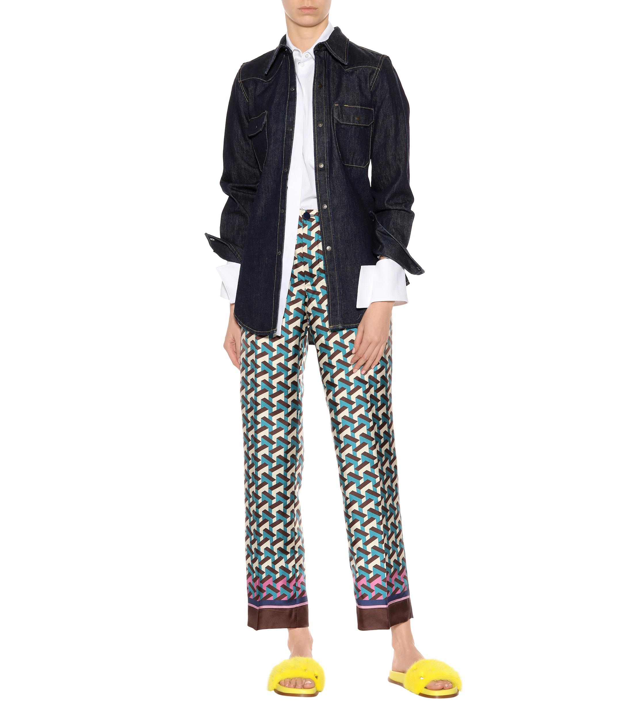 029c8c77a Lyst - F.R.S For Restless Sleepers Etere Printed Silk Trousers in Blue