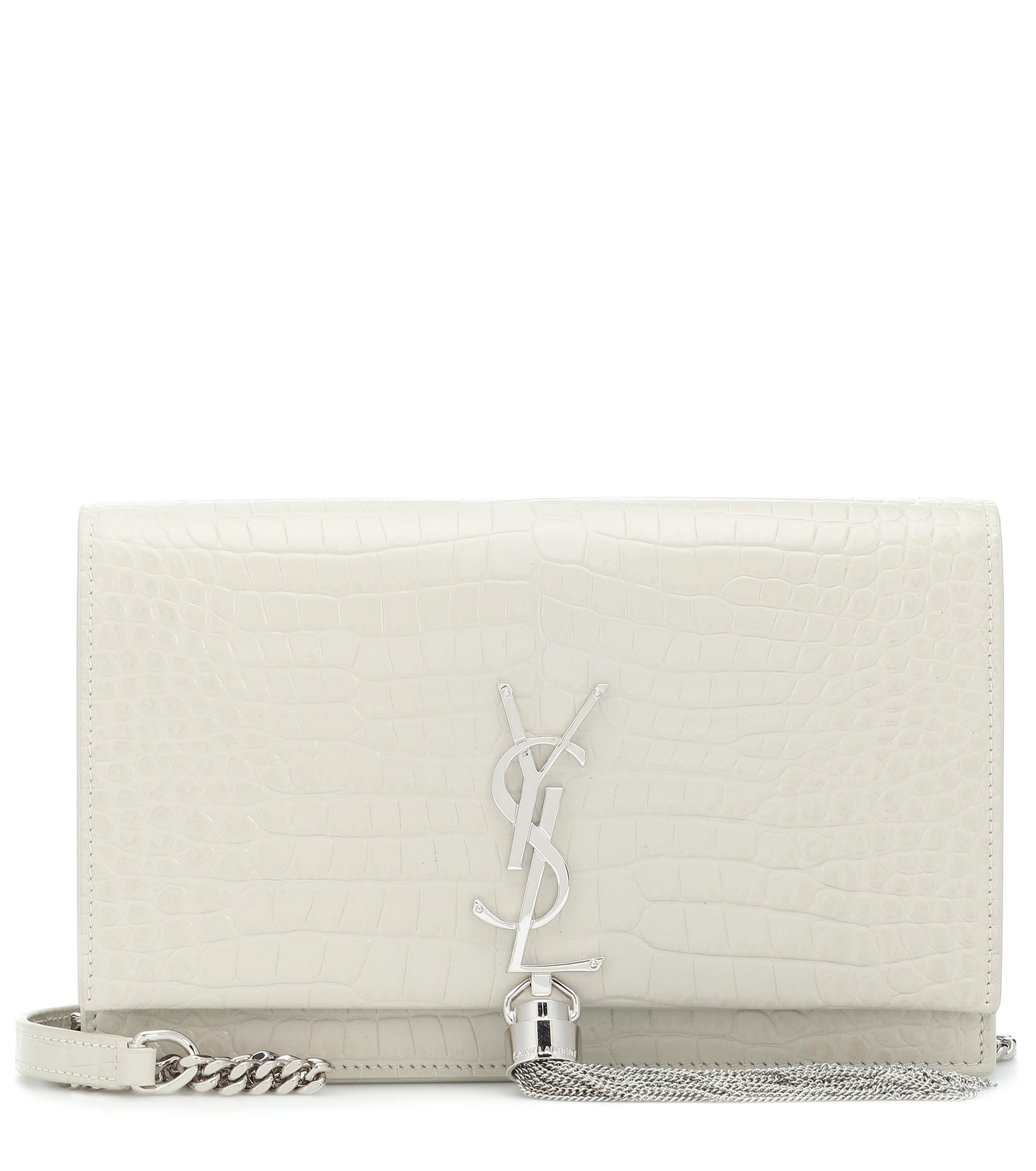 865299d797 Saint Laurent Kate Tassel Leather Shoulder Bag in White - Lyst