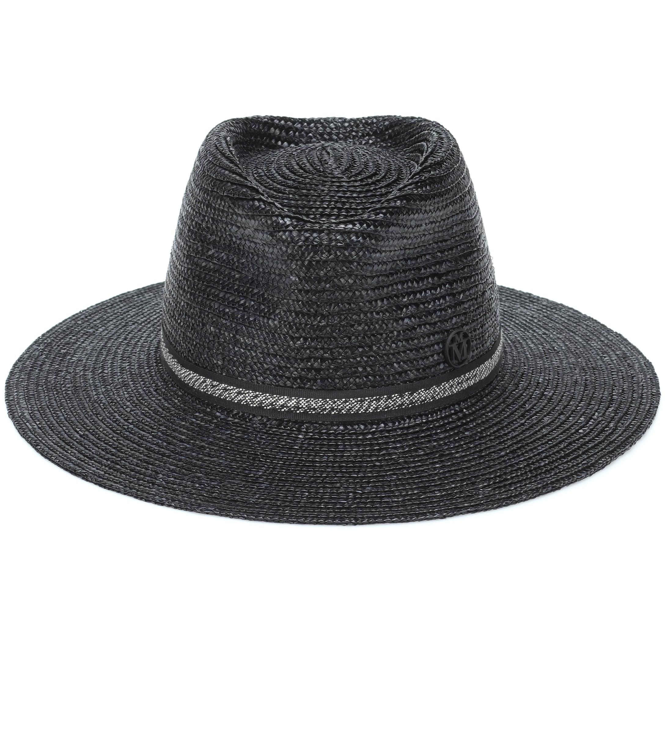 c430a389fed Maison Michel Charles Straw Fedora in Black - Lyst