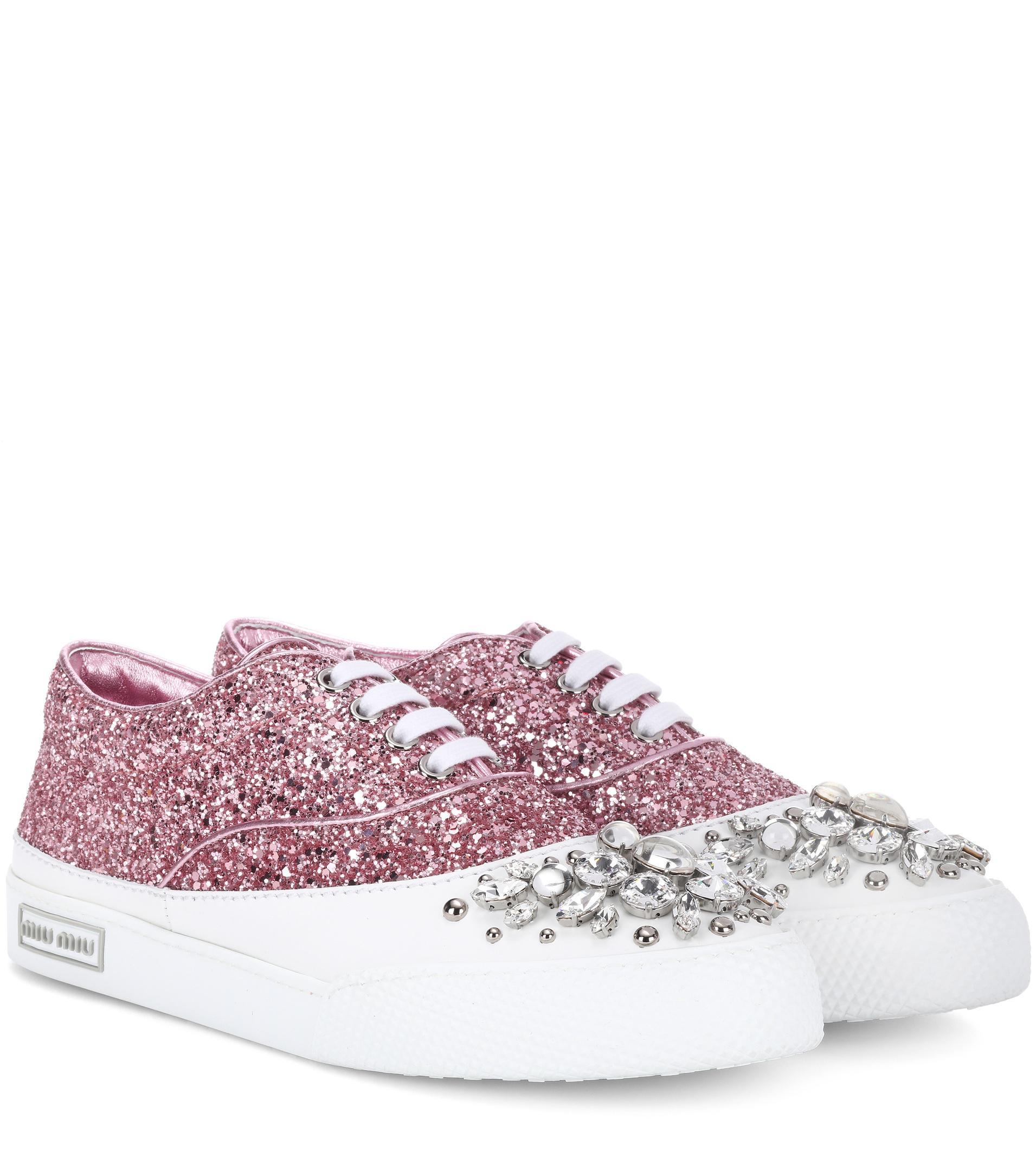 glitter embellished sneakers - White Miu Miu opZE6a
