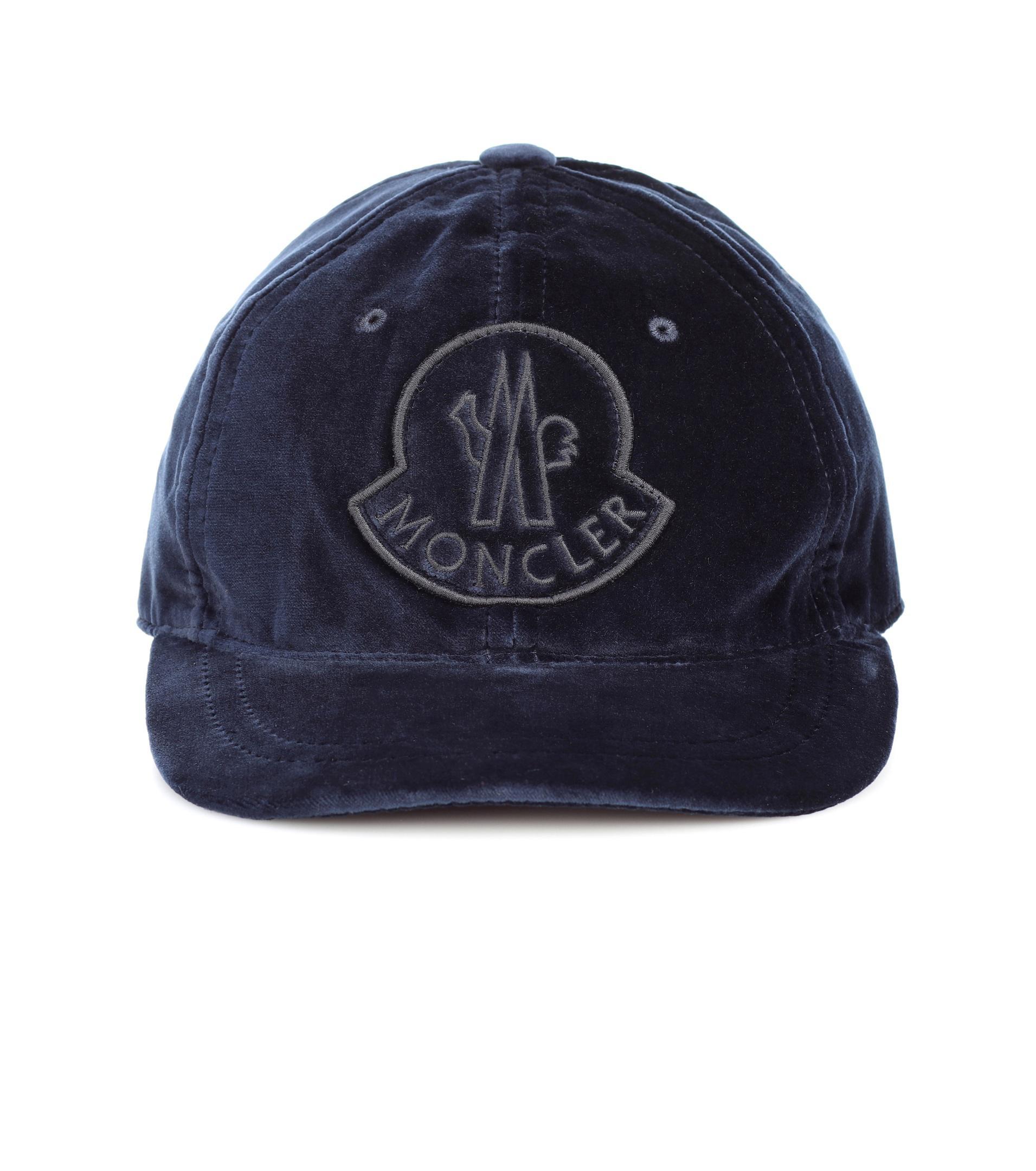 debab4dd09b Moncler Velvet Cap in Blue - Lyst