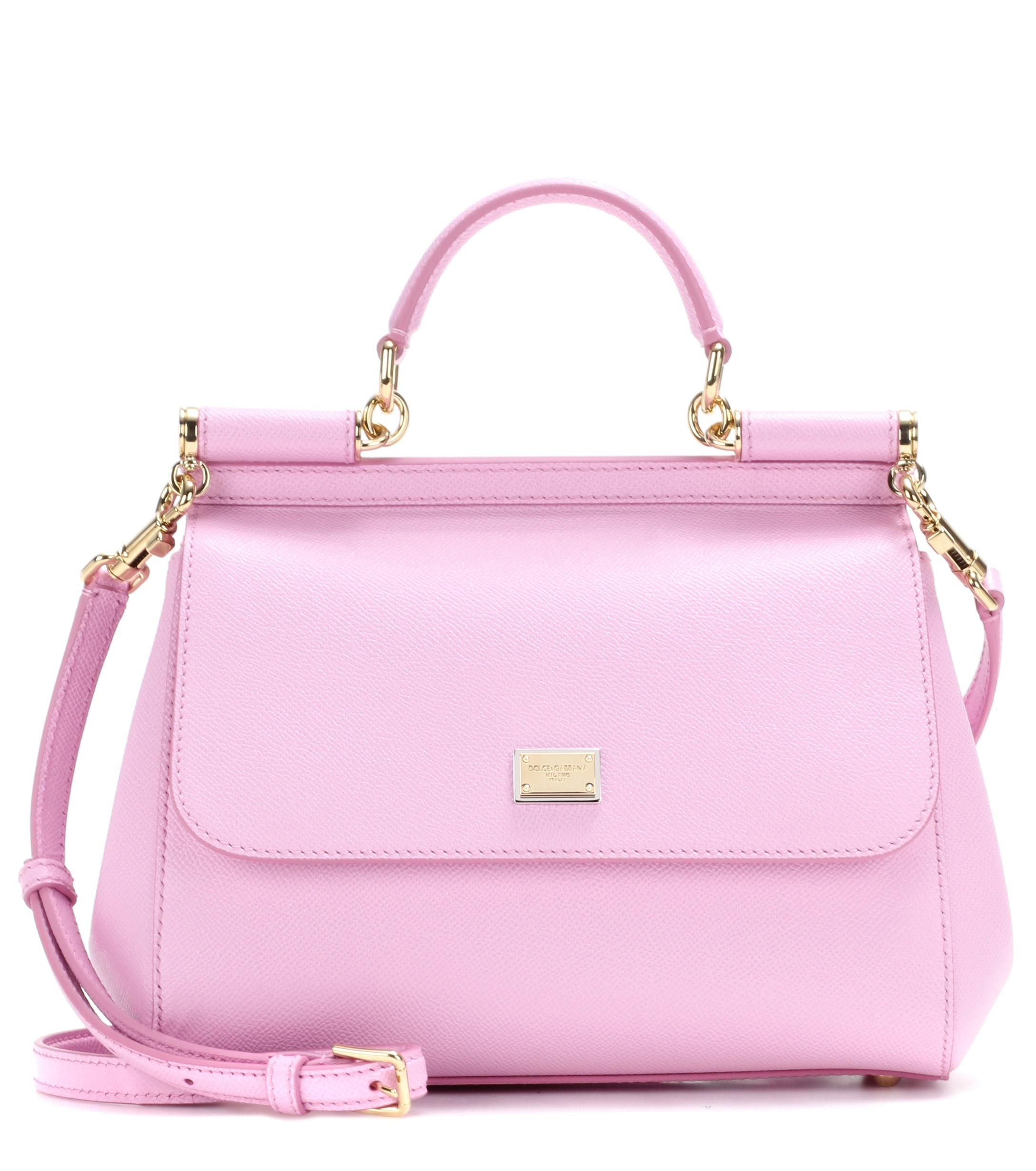 965da27575 Lyst - Dolce   Gabbana Sicily Medium Leather Shoulder Bag in Pink