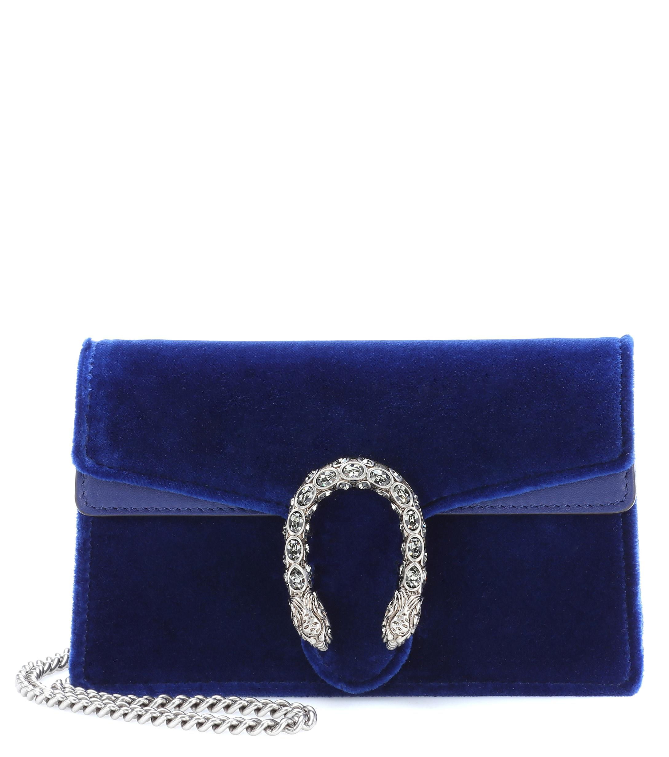 85fb206fa08 Blue Dionysus GG Velvet Shoulder Bag Color--Blue Women