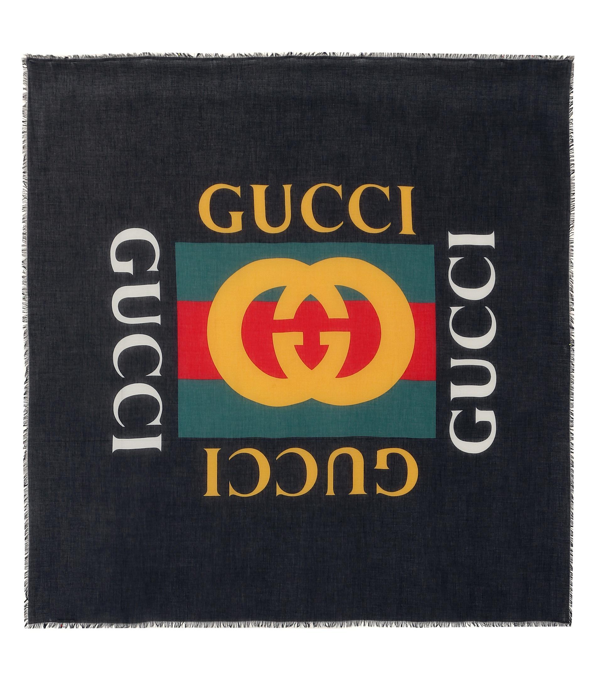 Lyst - Foulard imprimé en soie mélangée Gucci en coloris Noir 5ec3ea7edd3