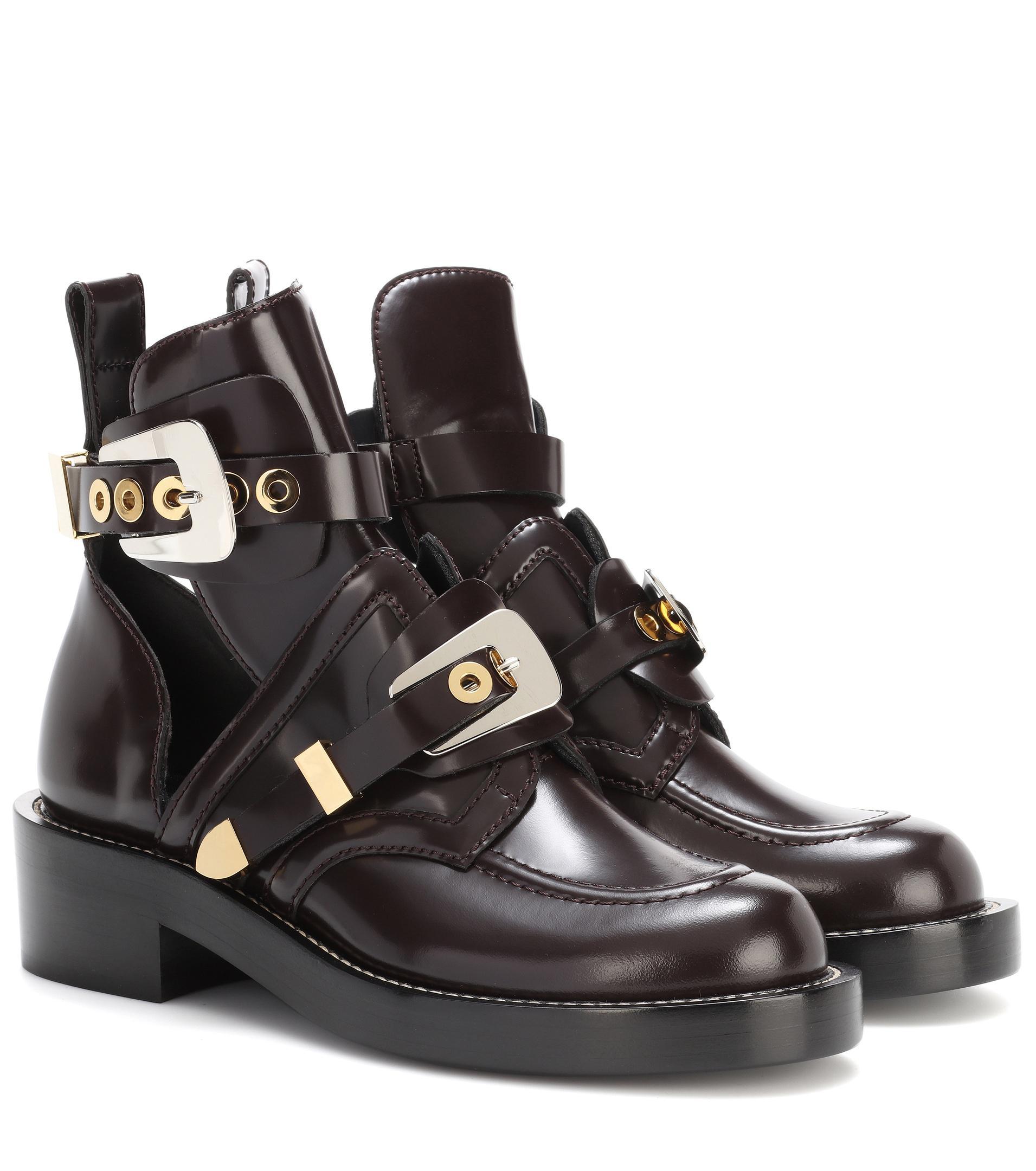 Balenciaga. Women's Black Ceinture Leather Derby Boots