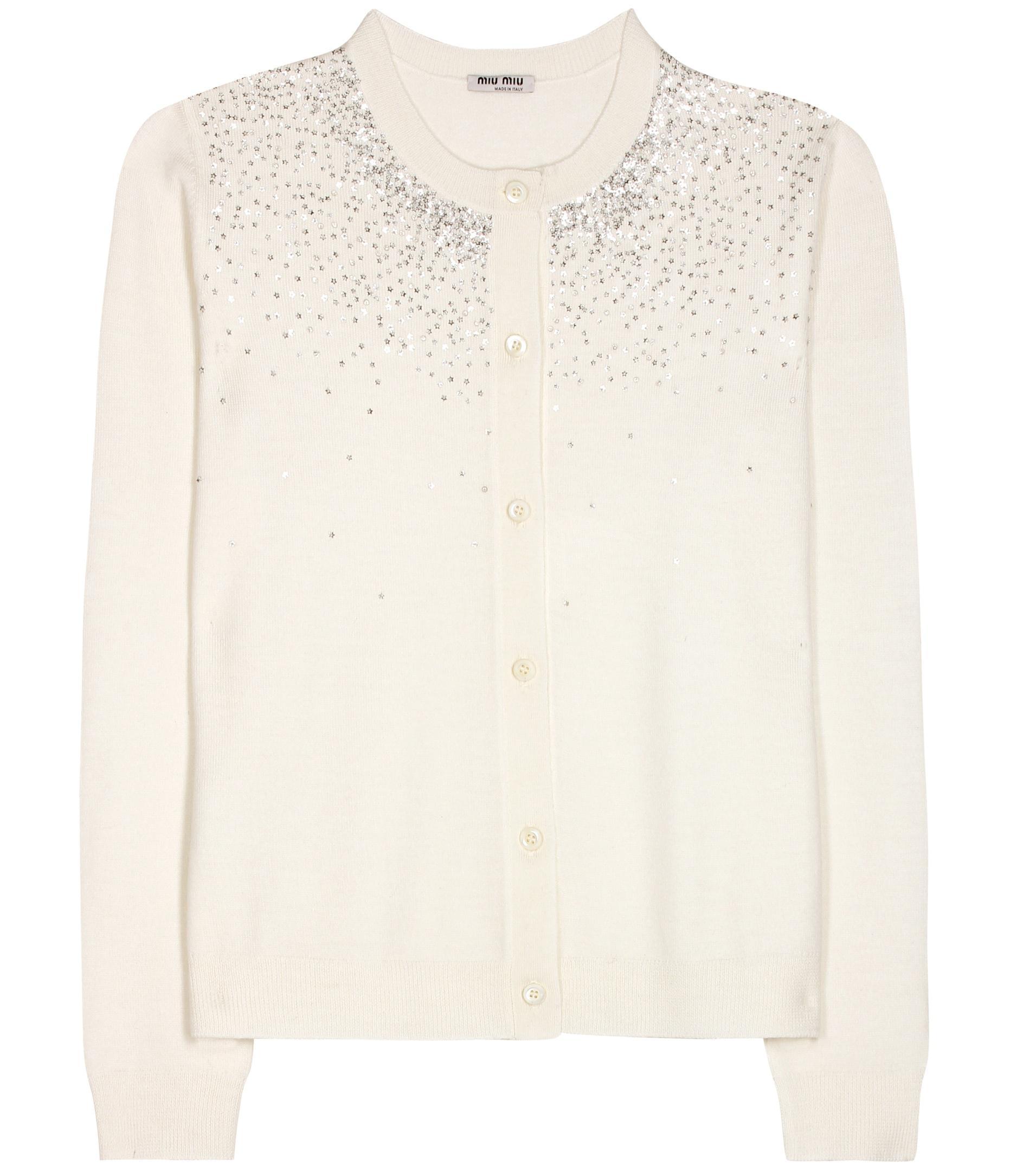 Miu miu Sequin-embellished Wool Cardigan in White | Lyst