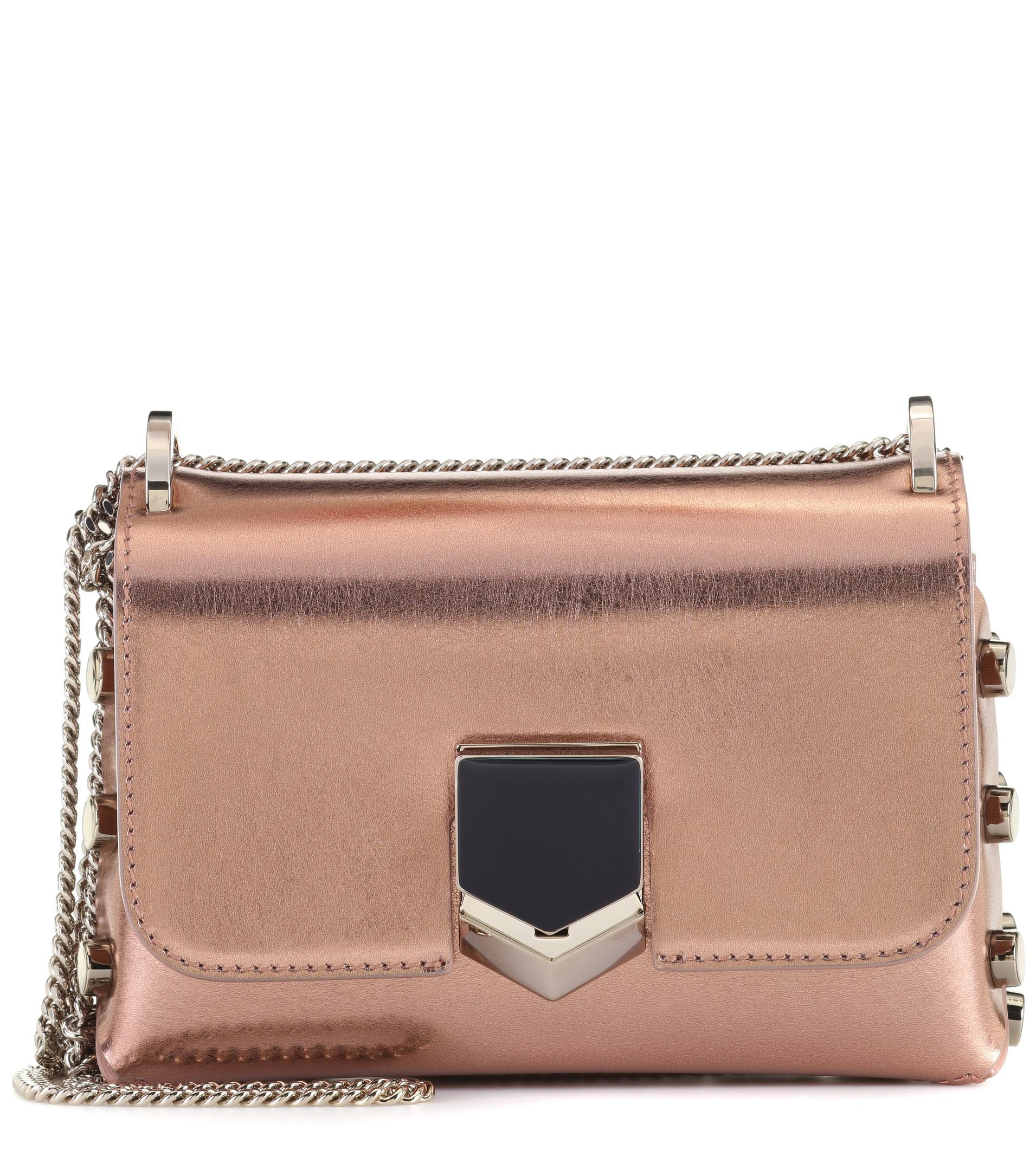 2493cbf8d44b Jimmy Choo Lockett Mini Leather Shoulder Bag in Metallic - Lyst