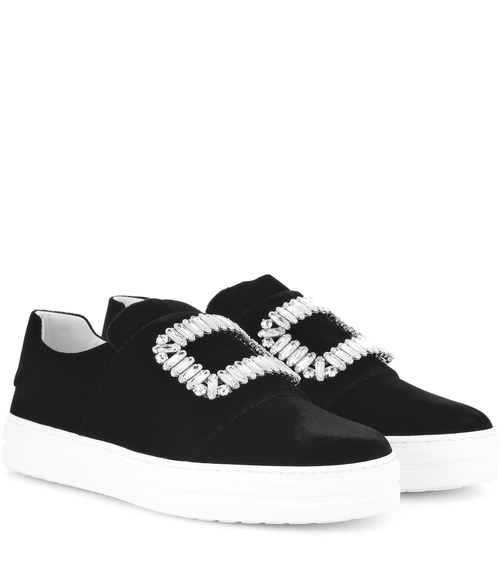 Roger Vivier. Women's Black Sneaky Viv Silk-Satin Sneakers