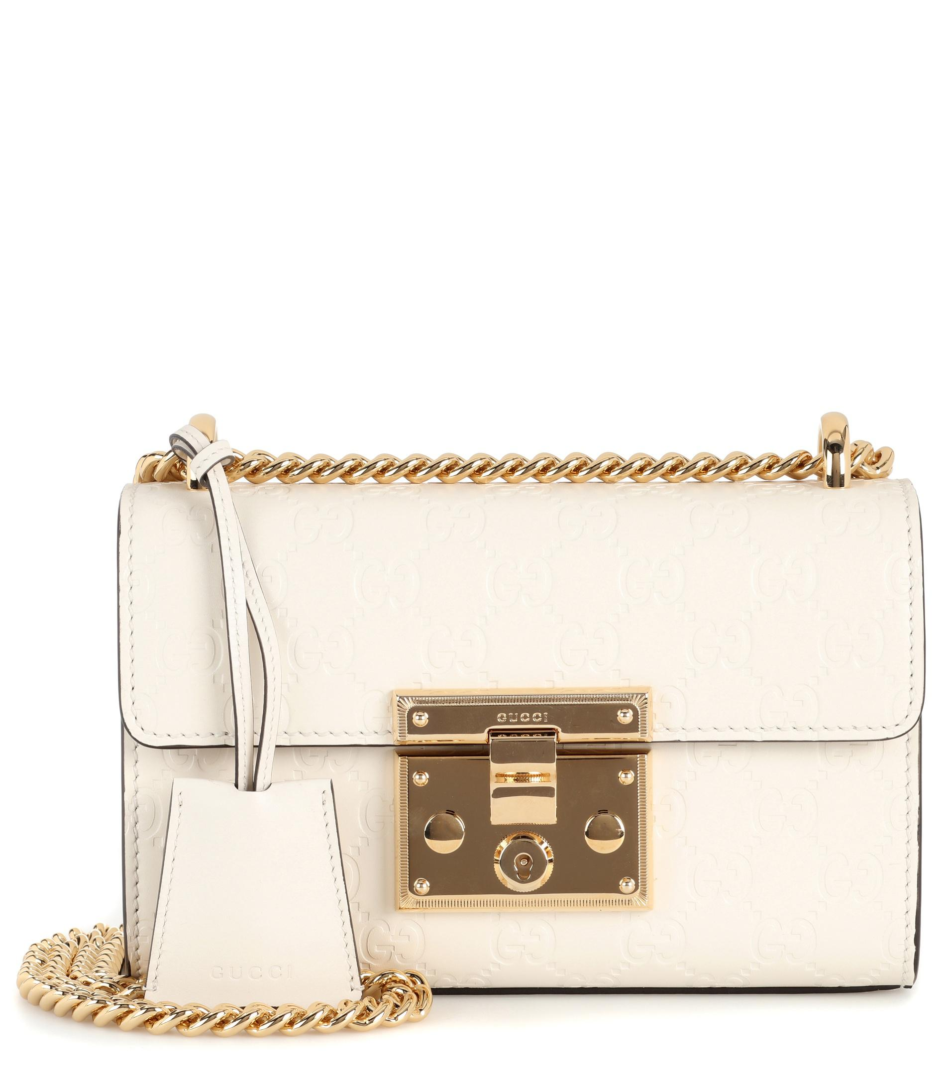 Gucci Padlock Mini Snakeskin Shoulder Bag, White/Black
