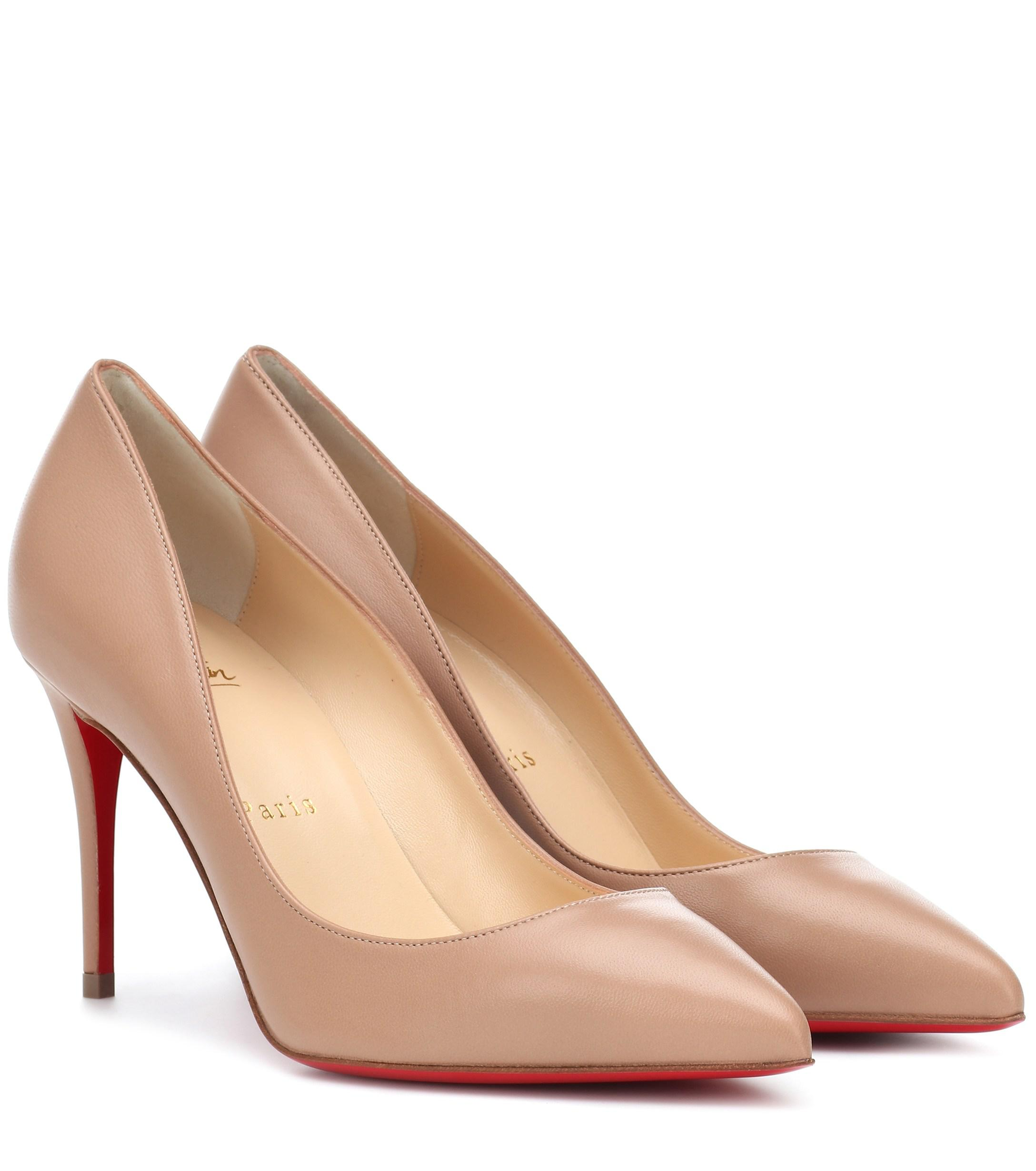 7880c80ab9d5 Lyst - Christian Louboutin Pigalle Follies 85 Leather Pumps in Natural