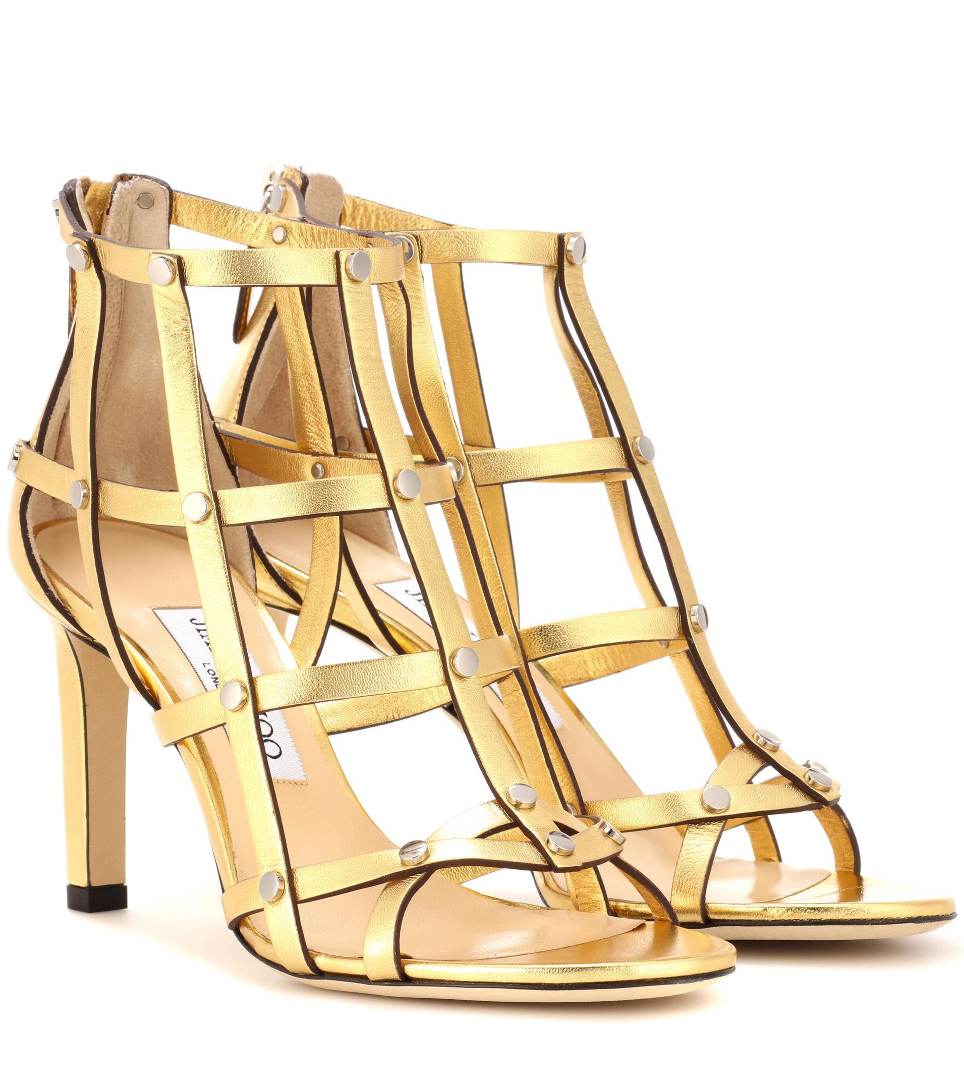 4fa6231f48a Jimmy Choo Tina 85 Metallic Leather Sandals in Metallic - Lyst