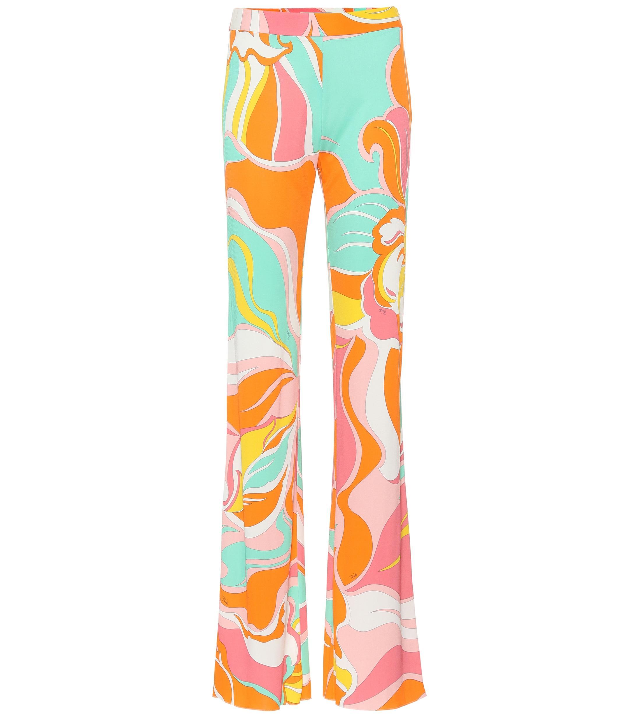 b8e2eb6714cb Lyst - Emilio Pucci Printed Silk-blend Jersey Pants in Orange