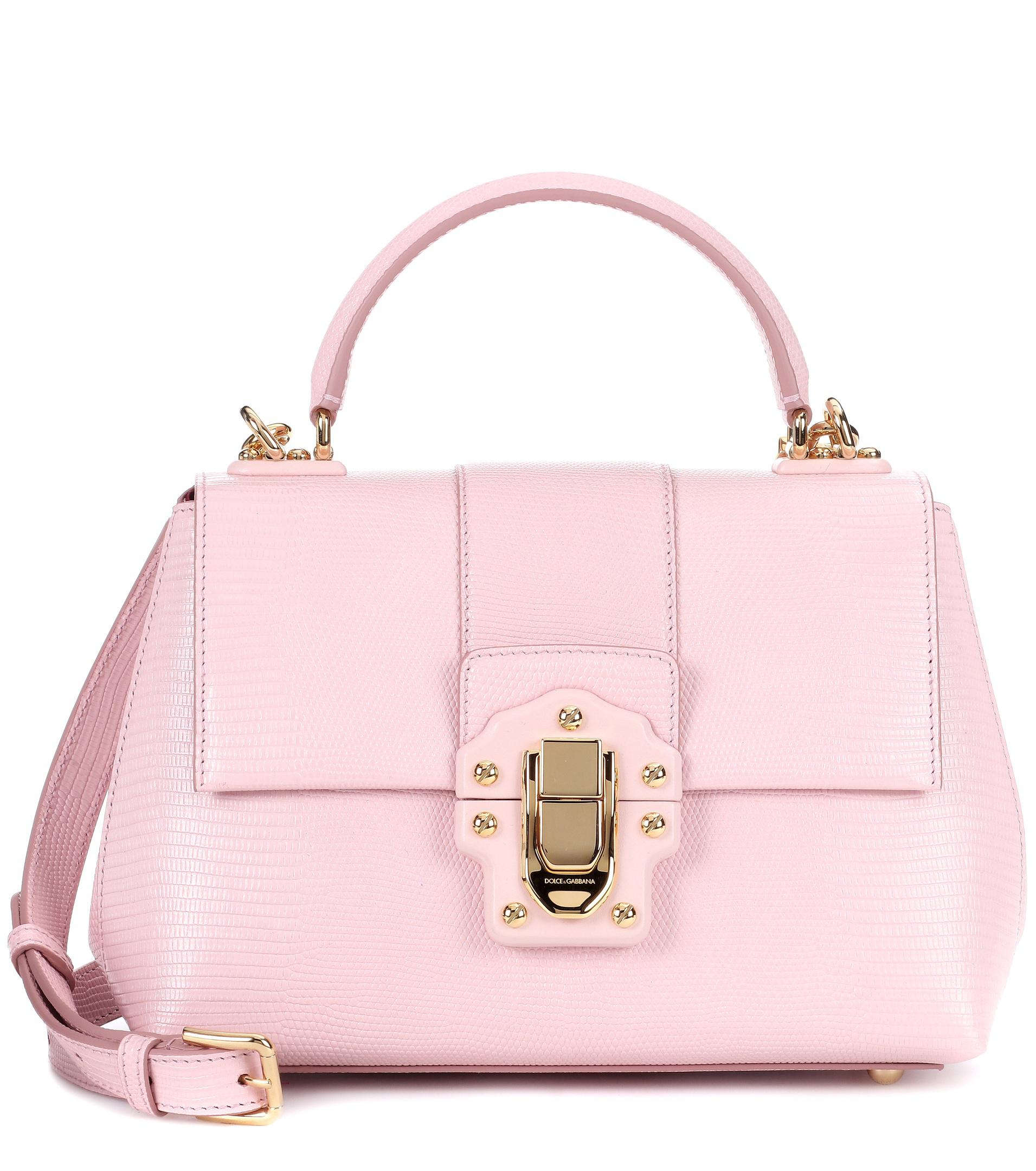 4ab0b5370c07 Lyst - Dolce   Gabbana Lucia Small Embossed Leather Shoulder Bag in Pink