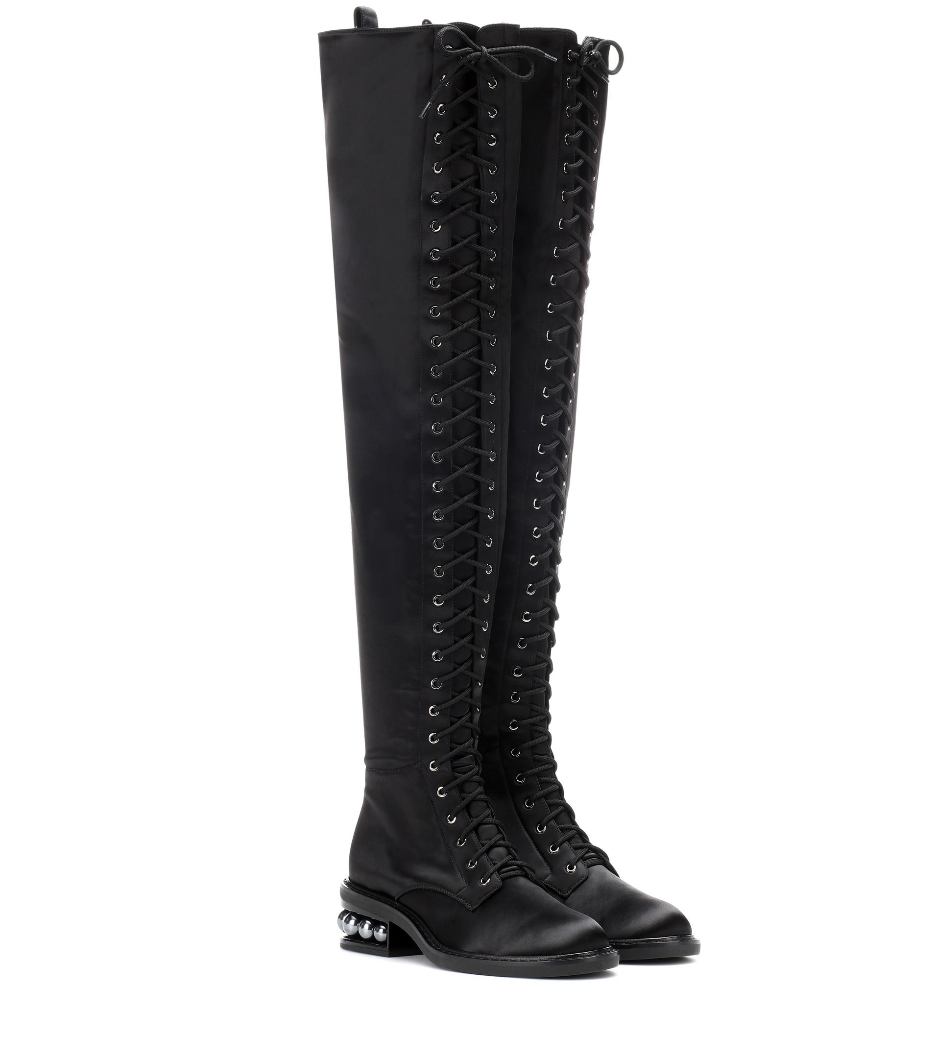 4fbb3be7376 Lyst - Nicholas Kirkwood Casati Satin Over-the-knee Boots in Black